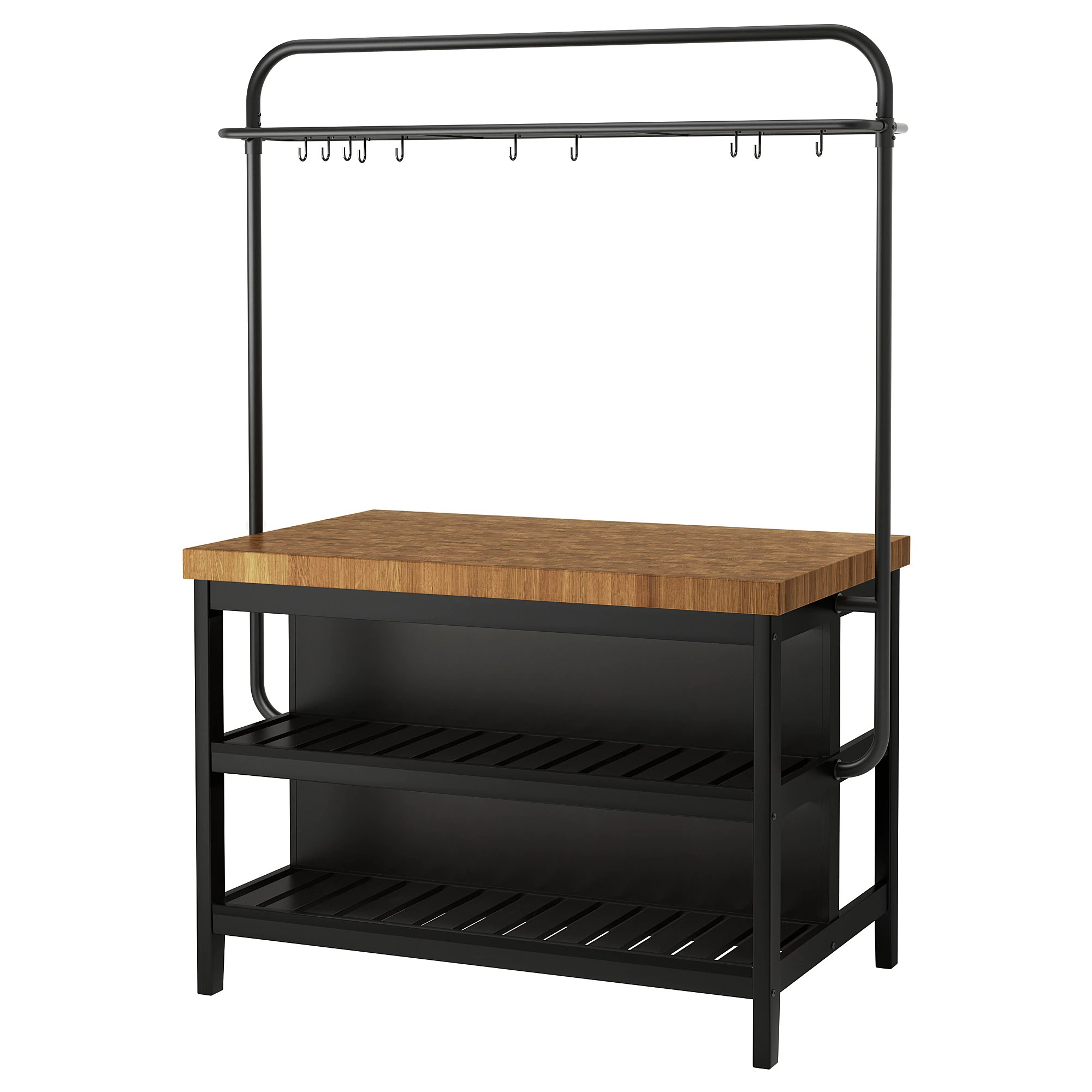 Ikea Kitchen Island Canada Vadholma Kitchen Island With Rack Black Oak