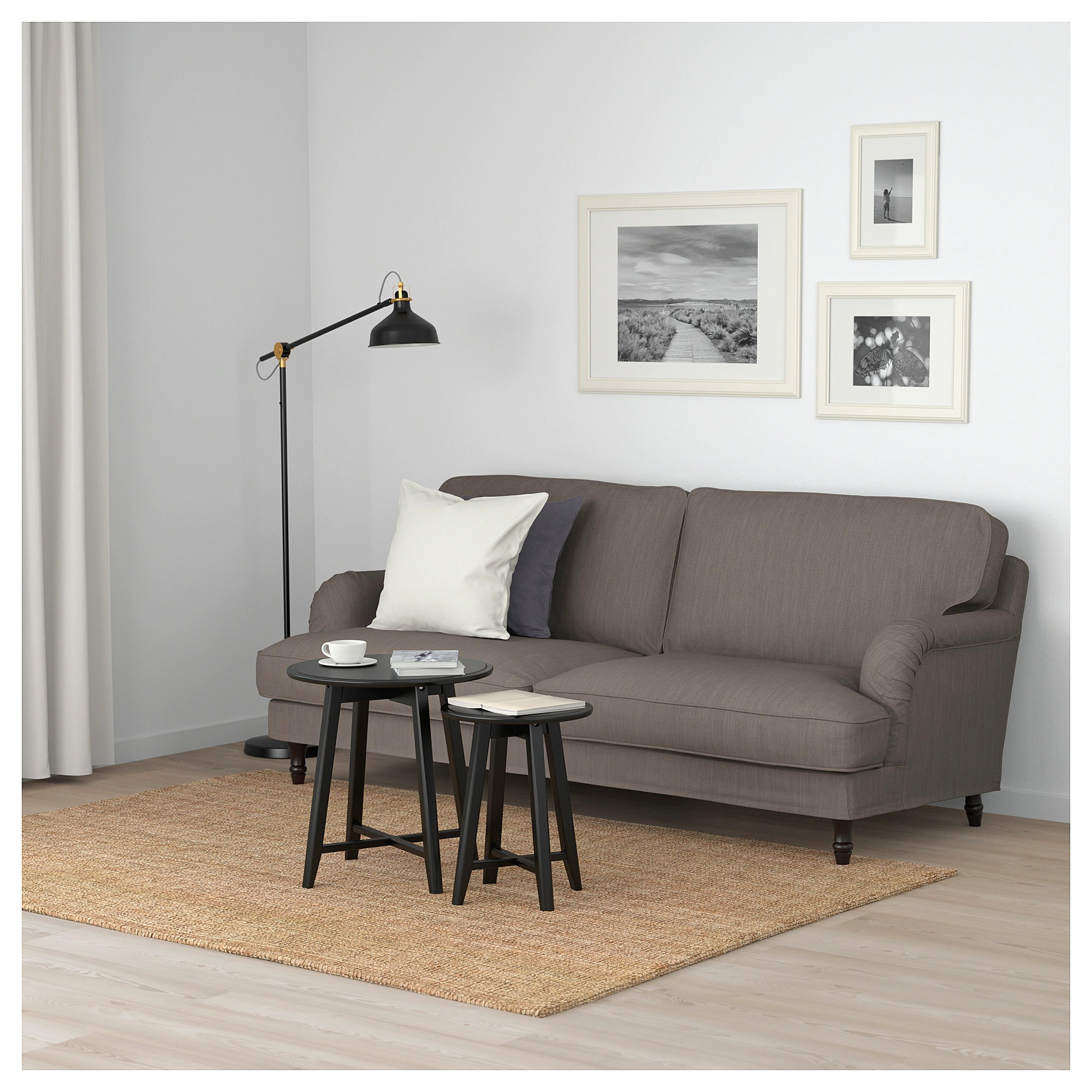 Stocksund 3 Seat Sofa Nolhaga Grey Beige Black Wood Ikea - Ikea Sofa Quality