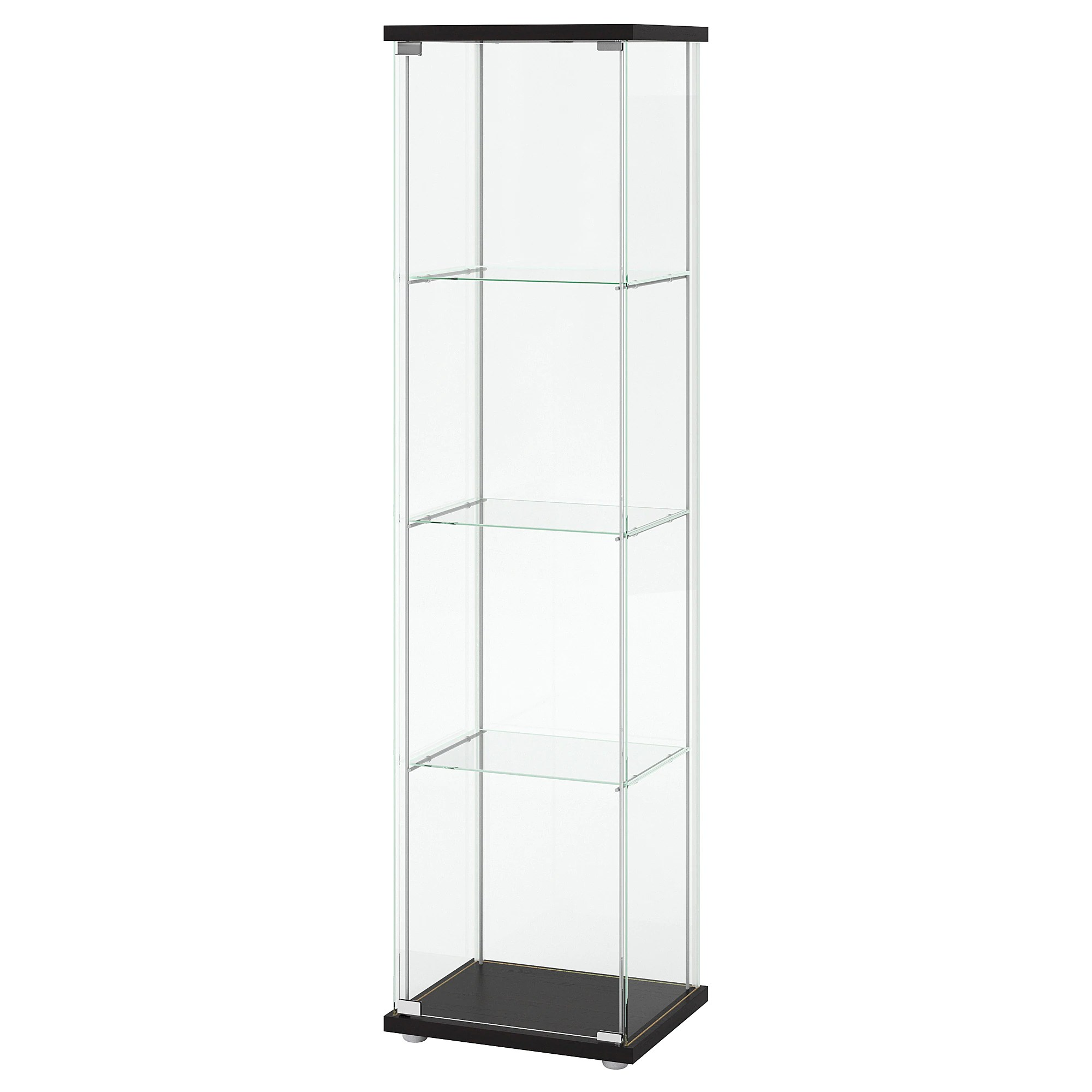 Standvitrinen Amazon Detolf Glass Door Cabinet Black Brown