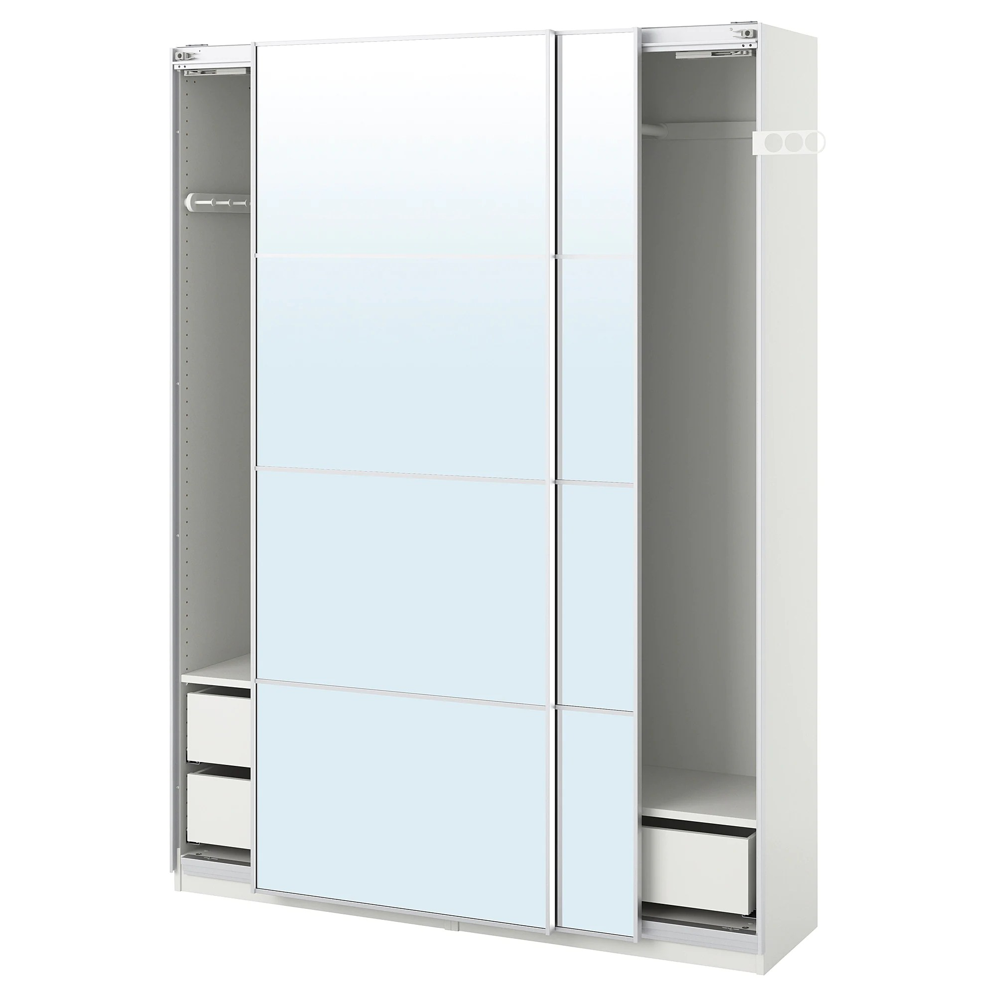 Ikea Wardrobe Tidy Wardrobe Pax White Auli Mirror Glass