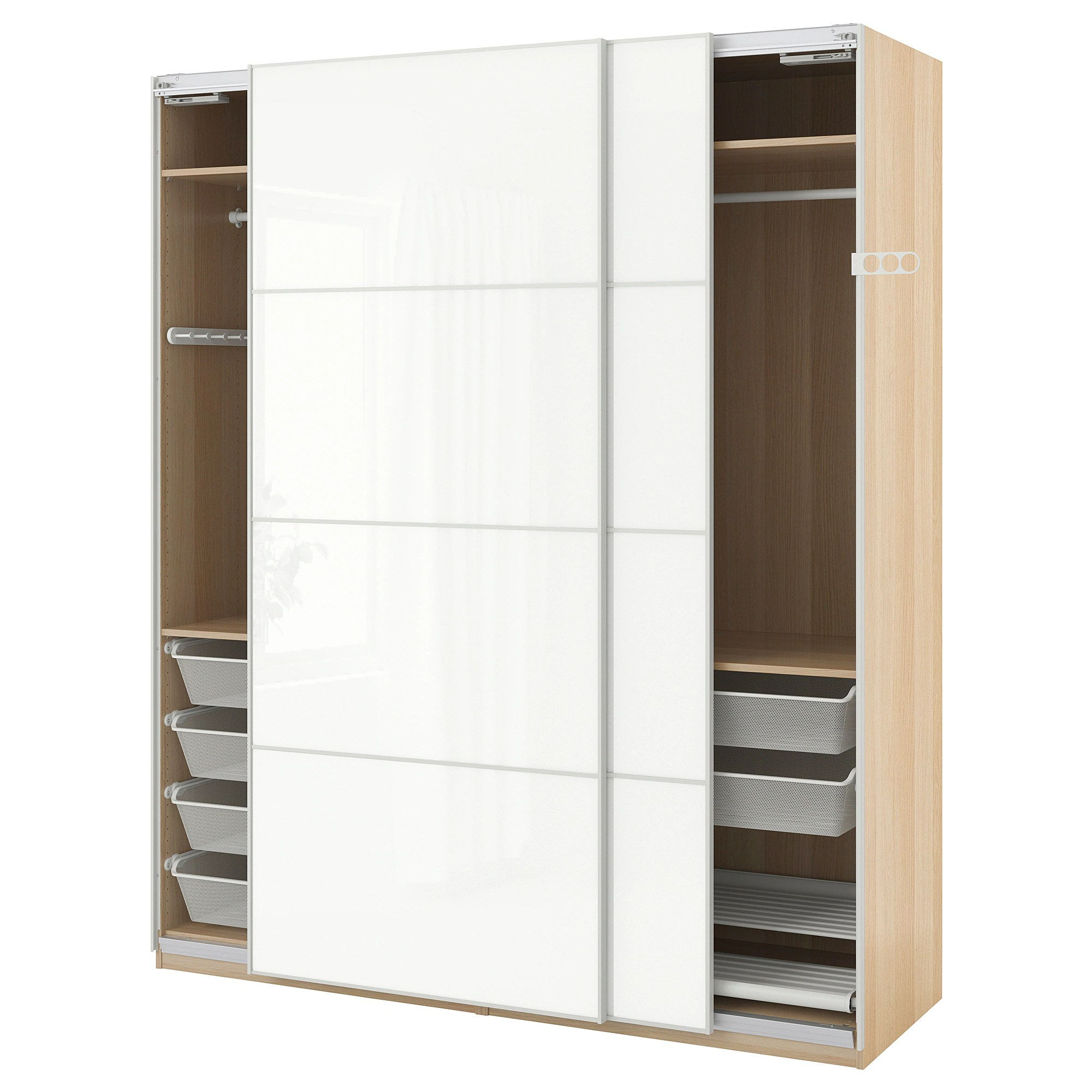 Ikea Guardaroba Pax Planner Wardrobe Pax White Stained Oak Effect Färvik White Glass