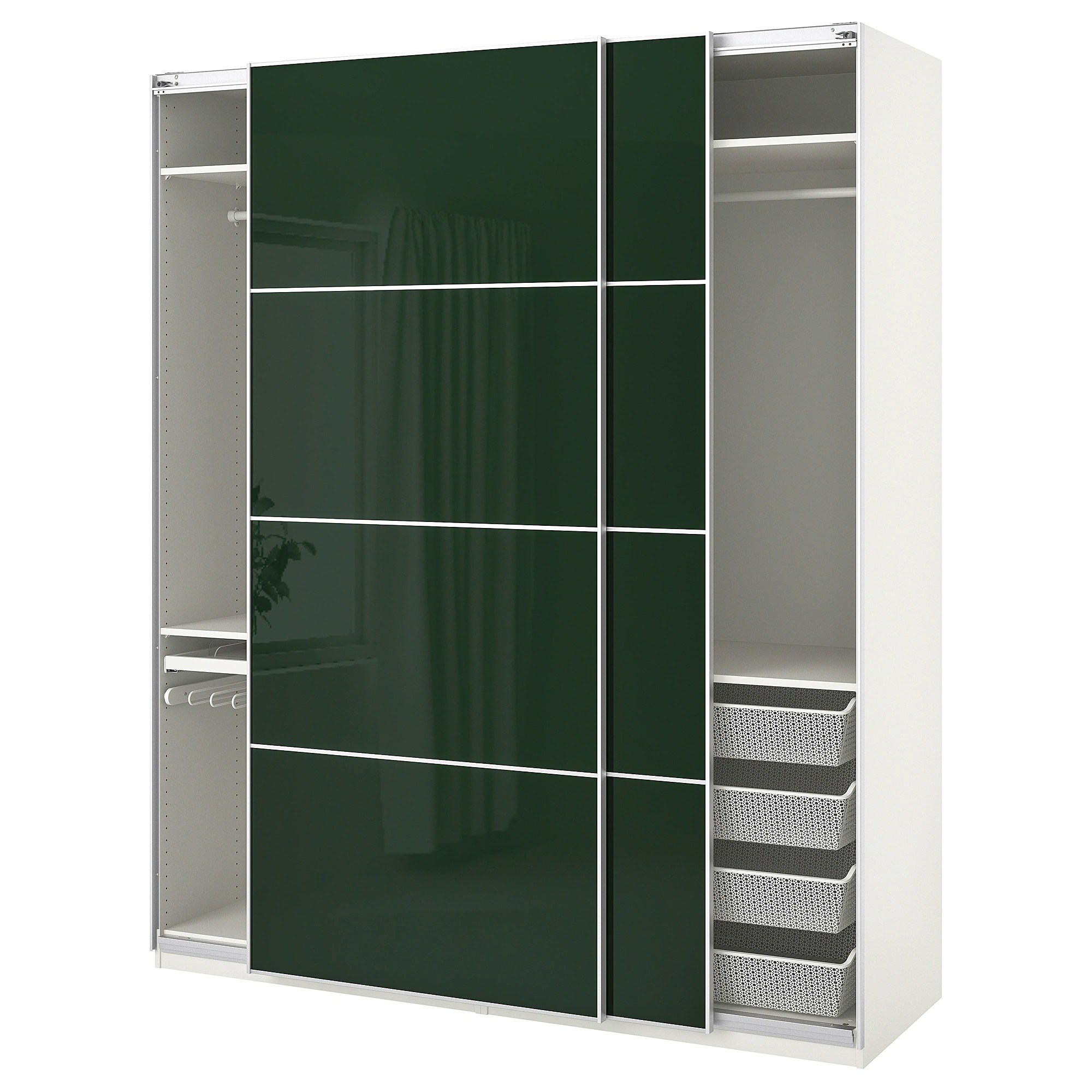 Ikea Guardaroba Pax Planner Pax Wardrobe White Hokksund Hokksund High Gloss Dark Green