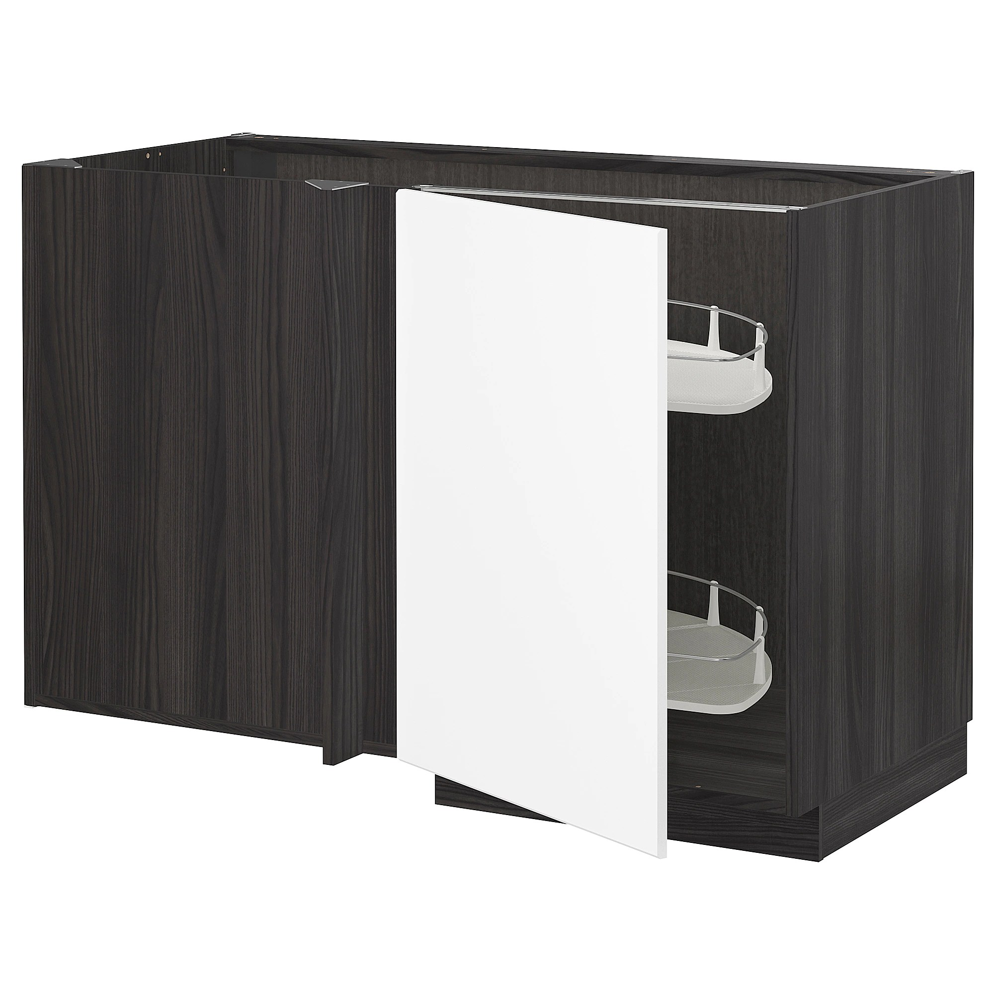 Cucina Ikea Tingsryd Jarsta Metod Corner Base Cab W Pull Out Fitting Black Kungsbacka Matt White