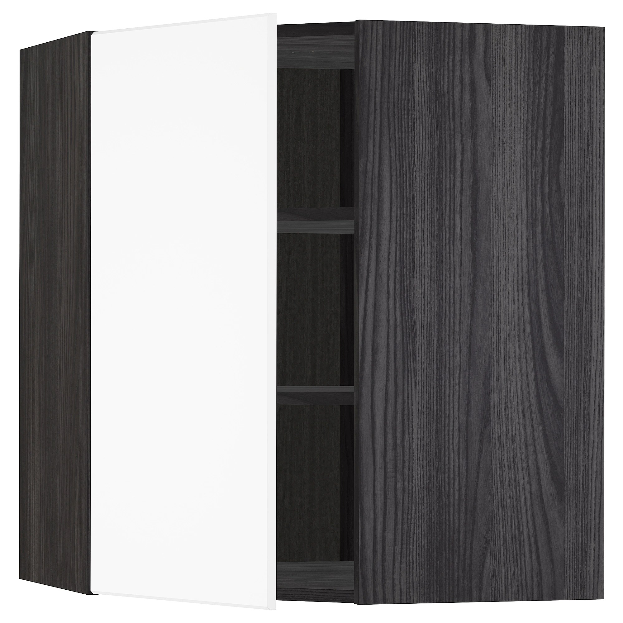Cucina Ikea Metod Kungsbacka Metod Corner Wall Cabinet With Shelves Black Kungsbacka Matt White