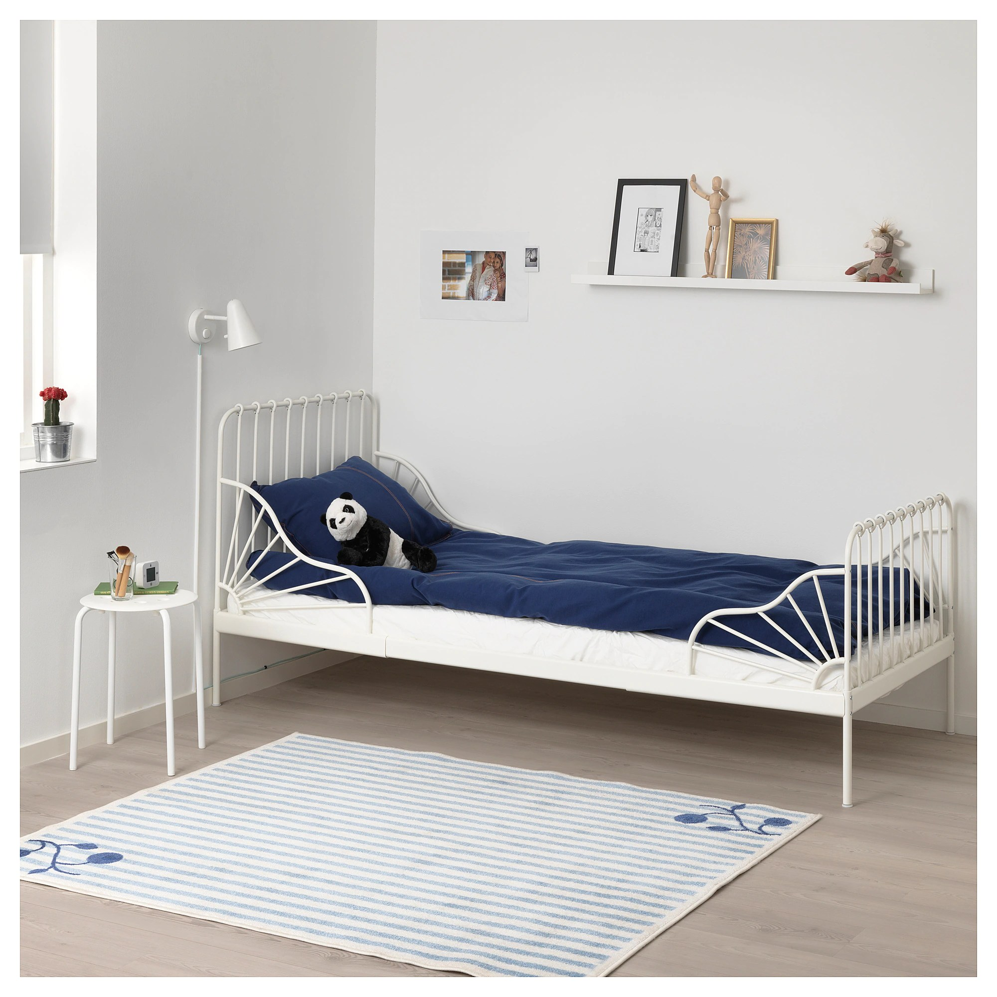 Childrens Beds With Pull Out Bed Underneath Minnen Ext Bed Frame With Slatted Bed Base White