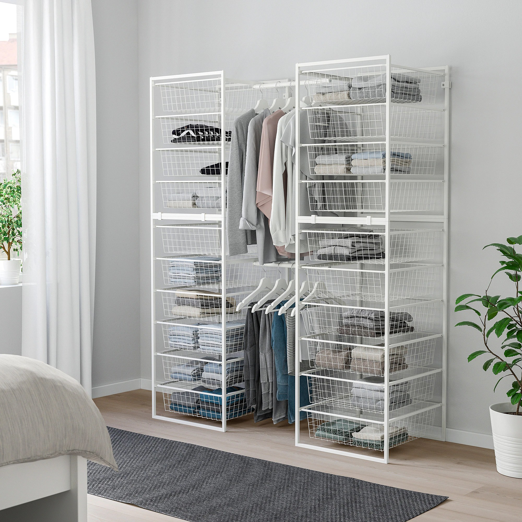 Ikea Wardrobe Tidy Jonaxel Frame Wire Baskets Clothes Rails