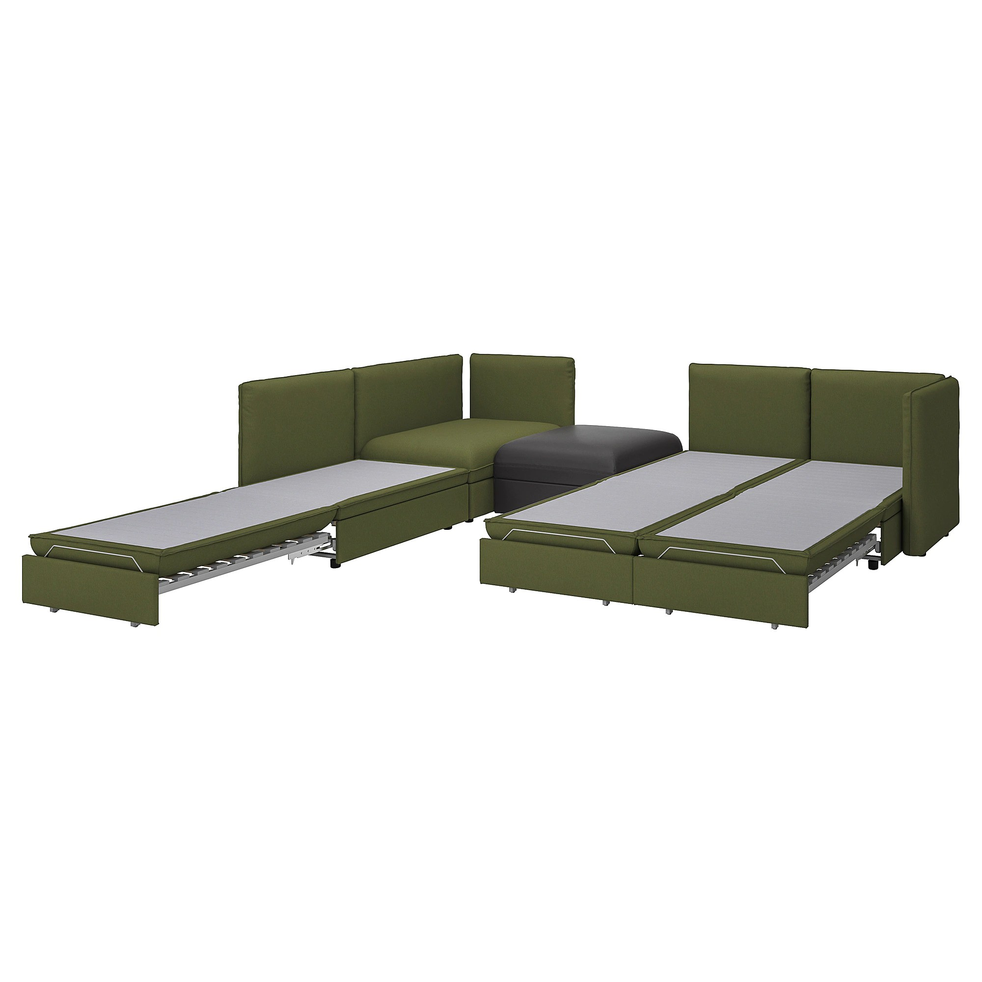 Vallentuna 4 Seat Modular Sofa With 3 Beds 4 Seat Modular Sofa W 3 Sofa Beds Vallentuna And Storage Orrsta Murum Olive Green Black