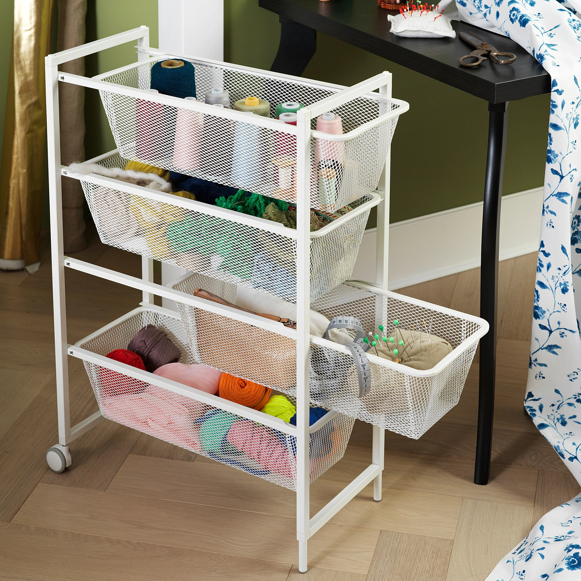 Ikea Wardrobe Tidy Jonaxel Frame With Mesh Baskets Casters