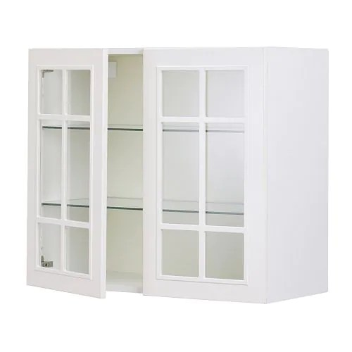 Ikea Faktum Kitchen Doors Faktum Wall Cabinet With 2 Glass Doors - Ståt Off-white