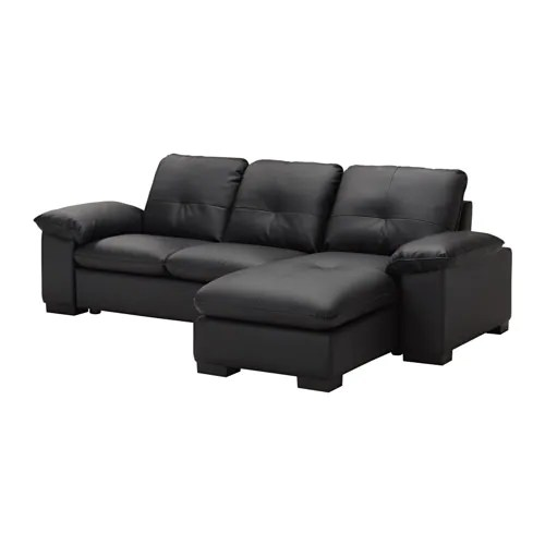 Ikea Uae Dagstorp 2-seat Sofa With Chaise-longue - Kimstad Black - Ikea