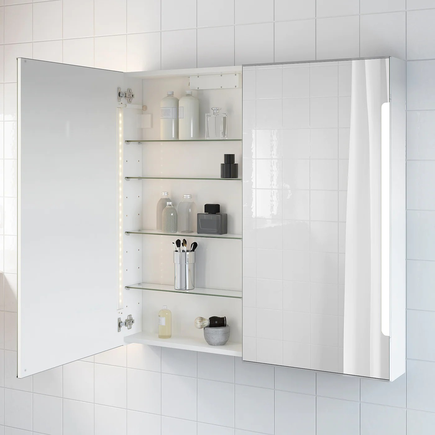 Spiegelschrank Ikea Storjorm Mirror Cab 2 Door/built-in Lighting, White, 100x14x96 Cm - Ikea