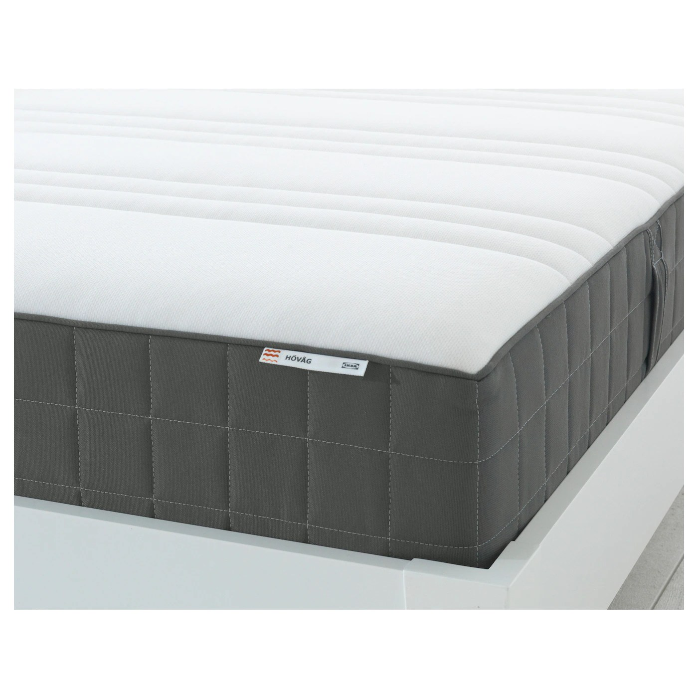 Ikea Boxspring 220 Cm HÖvÅg Pocket Sprung Mattress Medium Firm Dark Grey