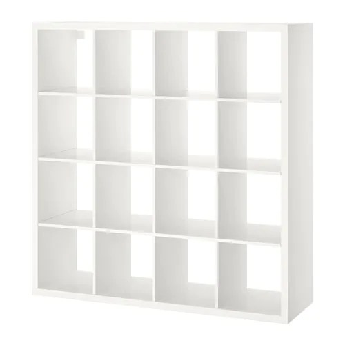 Ikea Kasten Living Kallax Shelving Unit - High-gloss White, 147x147 Cm - Ikea