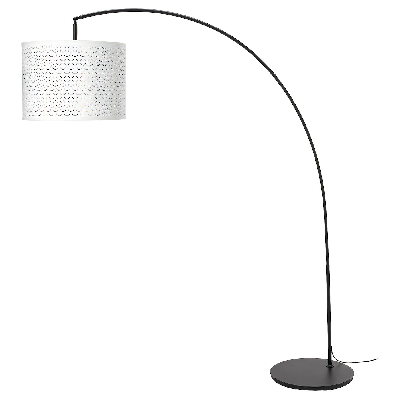 NymÖ Skaftet Floor Lamp Arched White Brass Colour Ikea