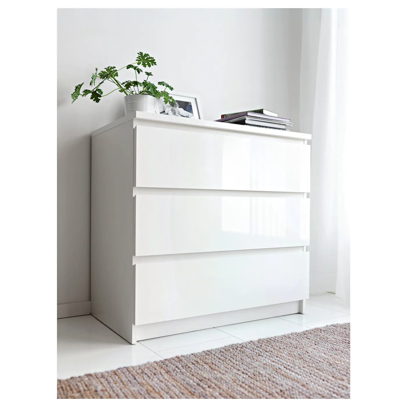 Ikea Commode Blanche Malm Commode 3 Tiroirs Blanc Brillant