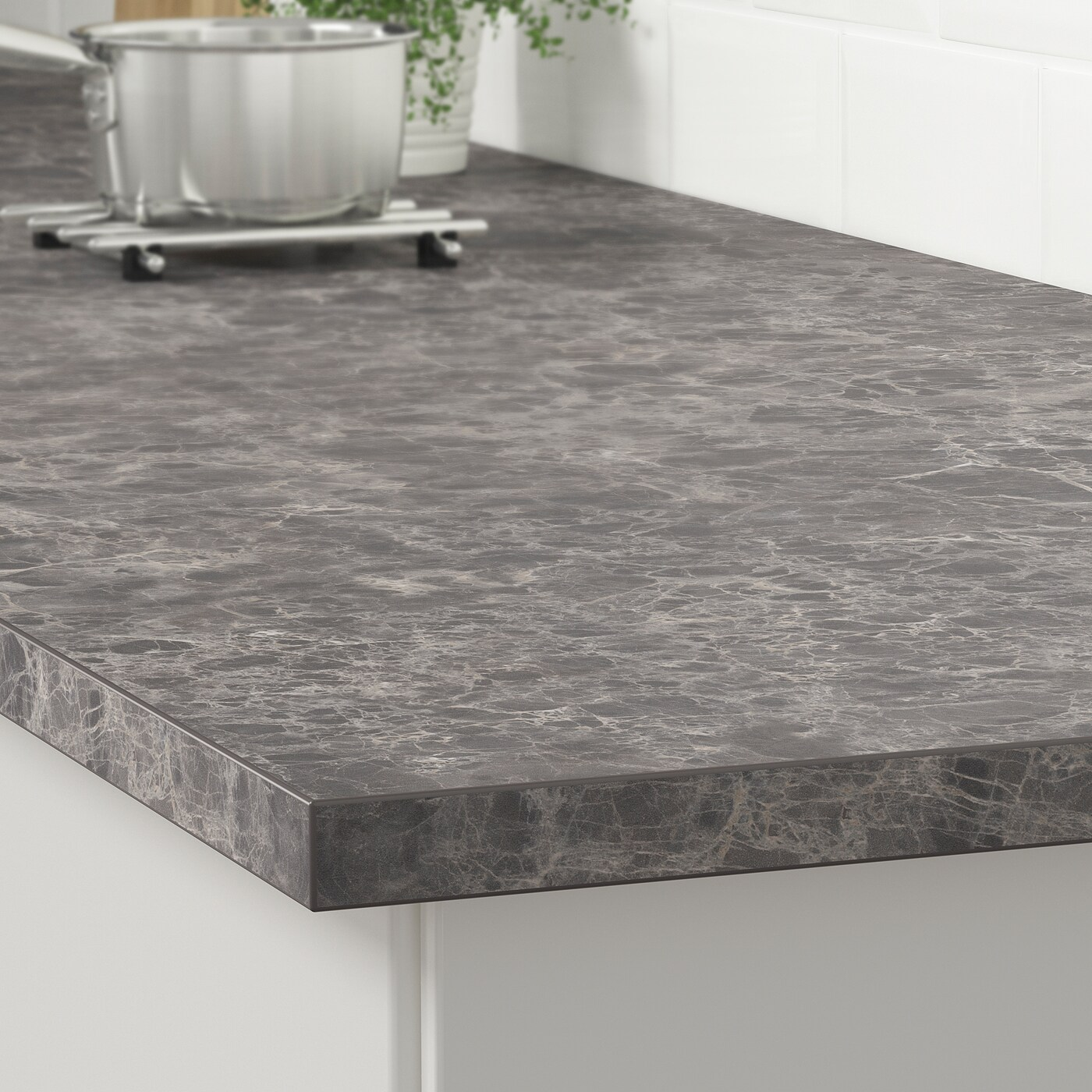 Ekbacken Countertop Dark Gray Marble Effect Laminate 74x11 8