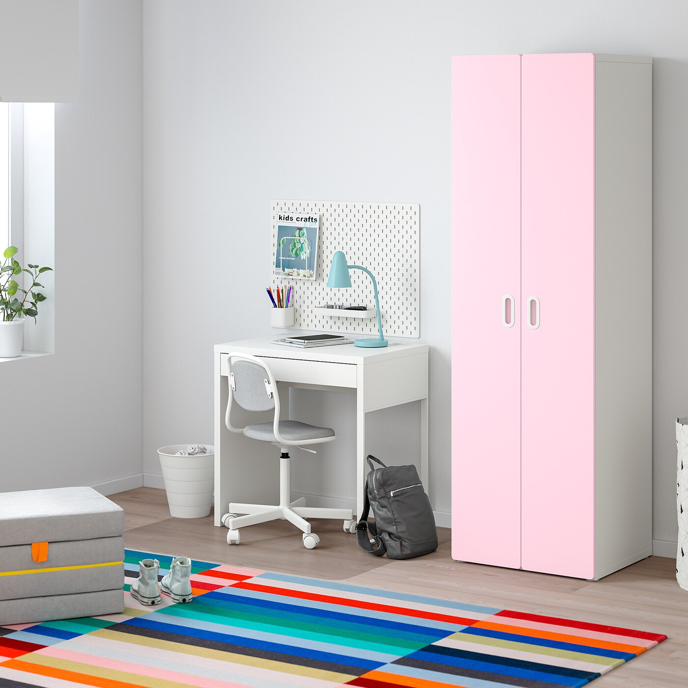 Stuva Fritids Armoire Penderie Blanc Rose Clair Ikea