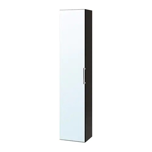 Badkamerkastje Ikea Godmorgon High Cabinet With Mirror Door - Black-brown - Ikea