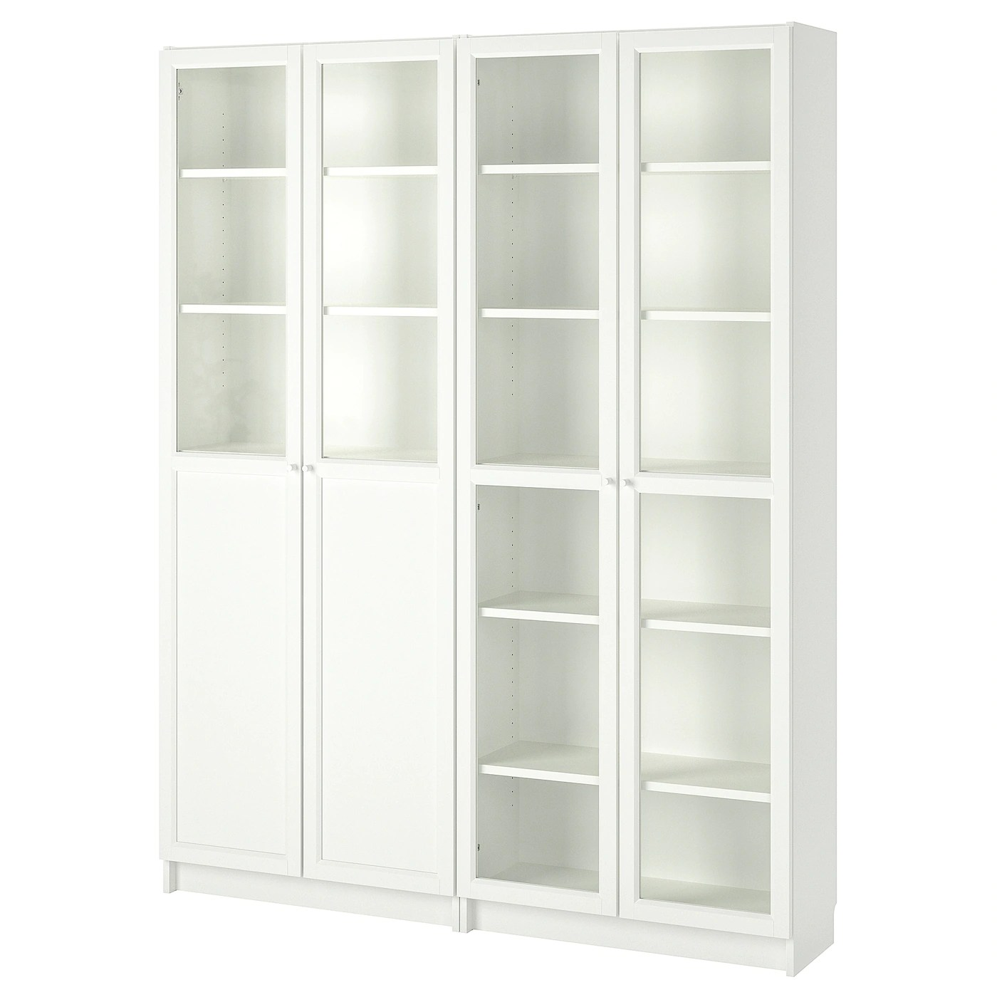 Ikea Küche 160 Cm Billy Oxberg Bookcase With Panel Glass Doors White Glass