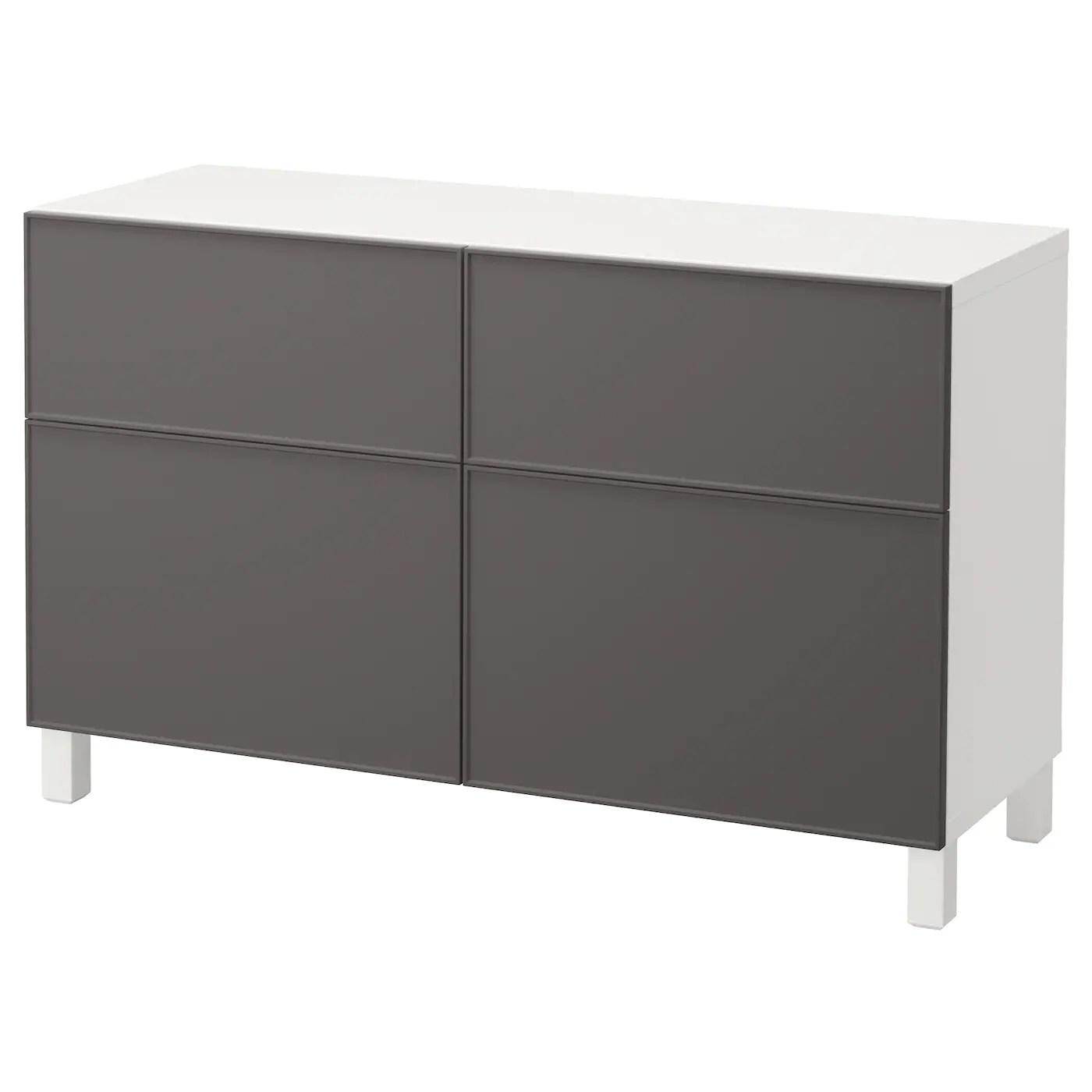 Ikea Kommode 60 X 120 BestÅ Storage Combination W Doors Drawers White Grundsviken Dark Grey