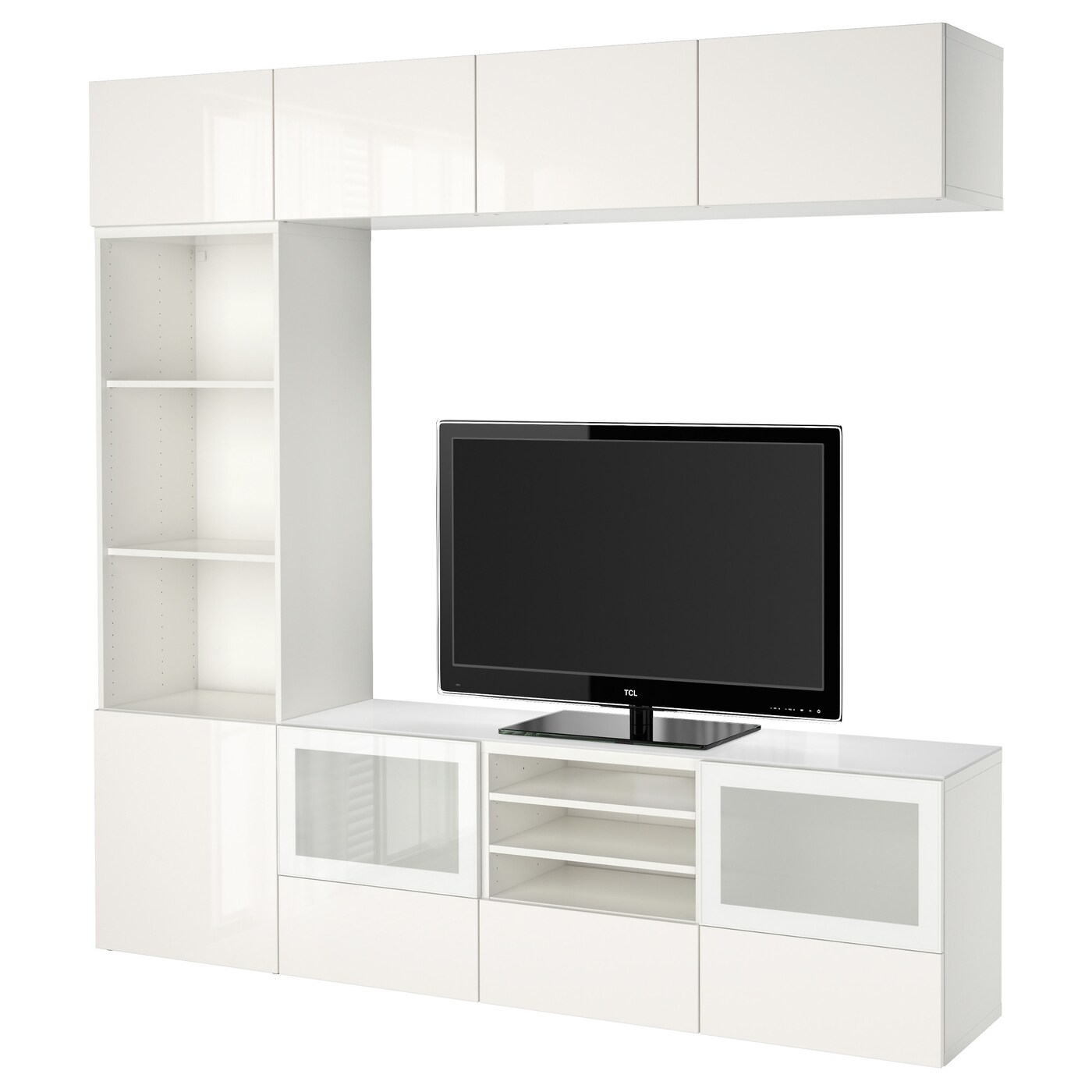 Besta Ecklösung BestÅ Tv Storage Combination Glass Doors White Selsviken