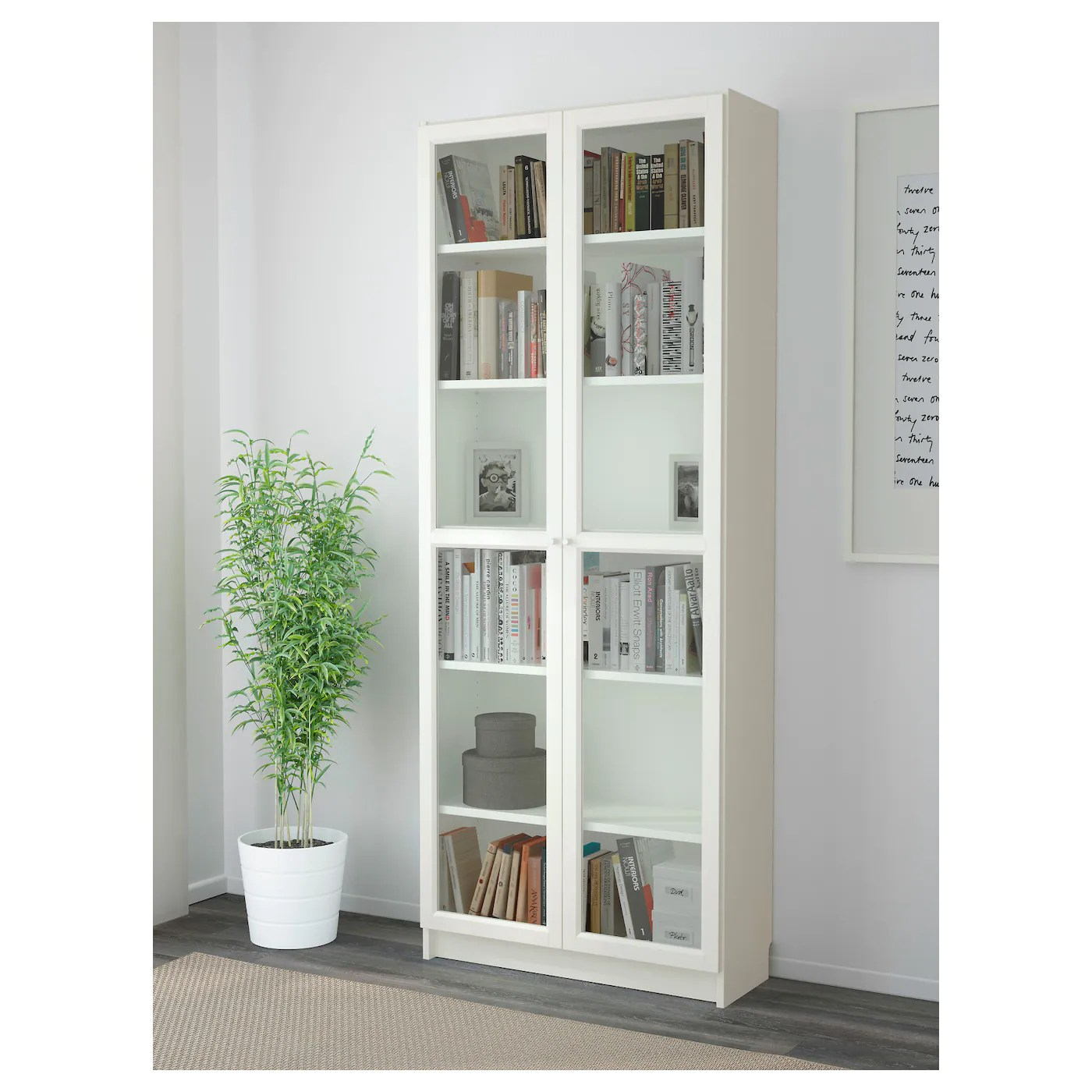 Ikea Billy Bookcase White Billy Oxberg Bookcase White 80 X 202 X 30 Cm Ikea