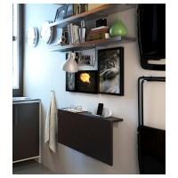 BJURSTA Wall-mounted drop-leaf table Brown-black 90 x 50 ...