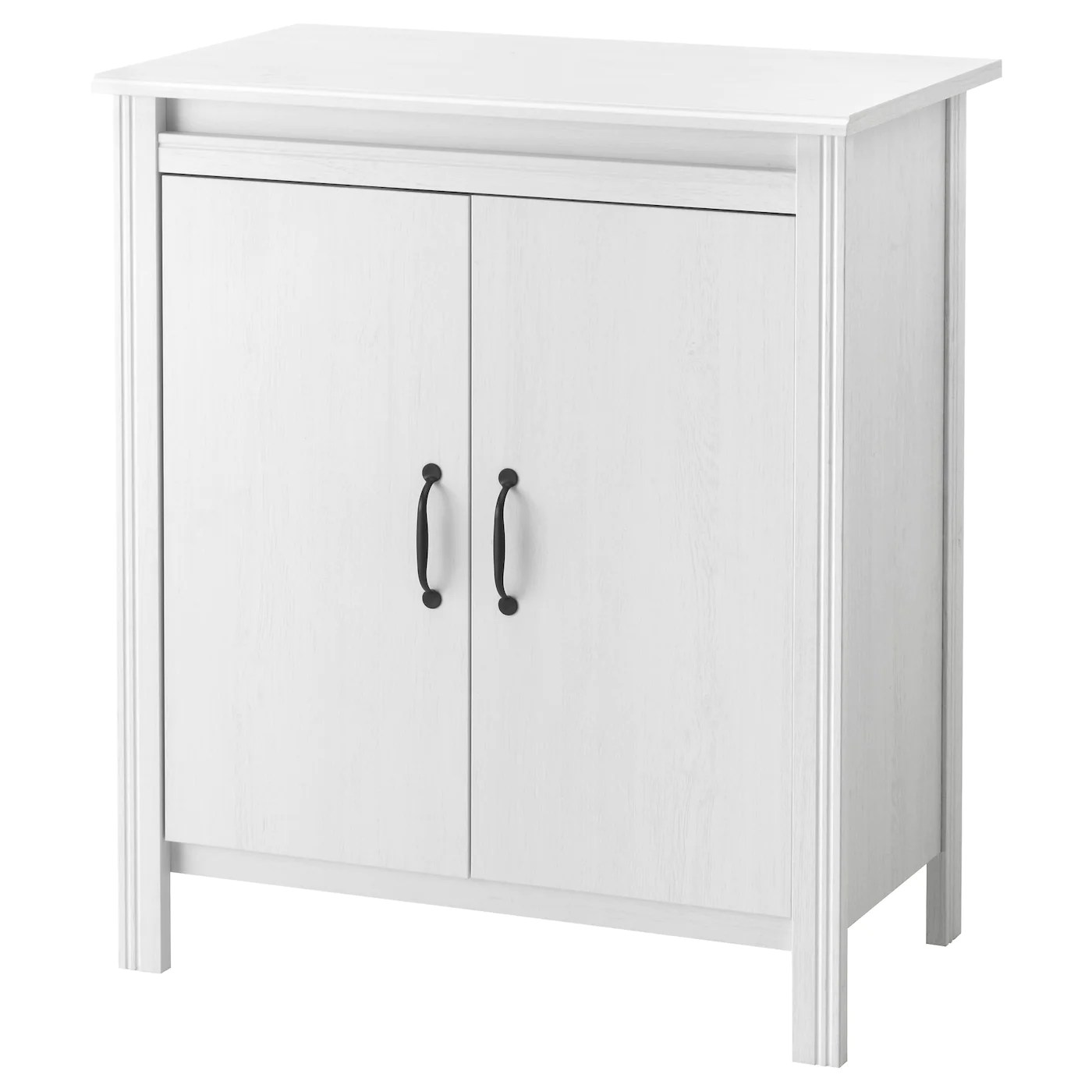 White Cupboard Brusali Cabinet With Doors White 80 X 93 Cm Ikea