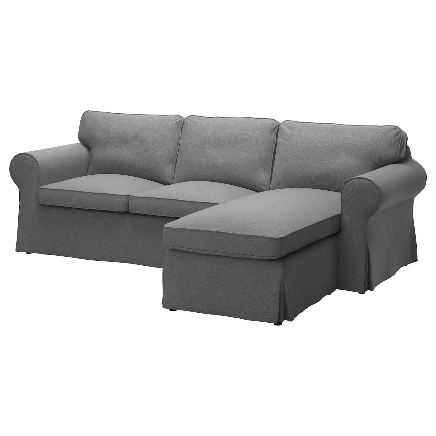 Ektorp Sofa From Ikea Ektorp Cover For 3 Seat Sofa With Chaise Longue Nordvalla Dark Grey