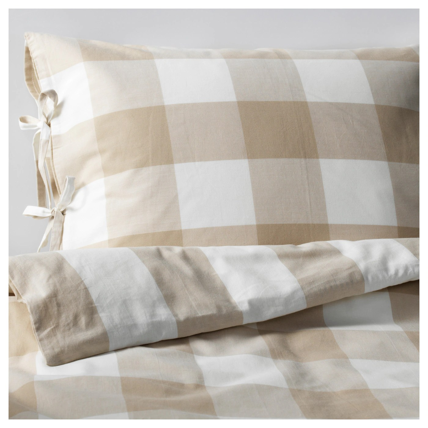 Ikea Doona Emmie Ruta Quilt Cover And 4 Pillowcases Beige White
