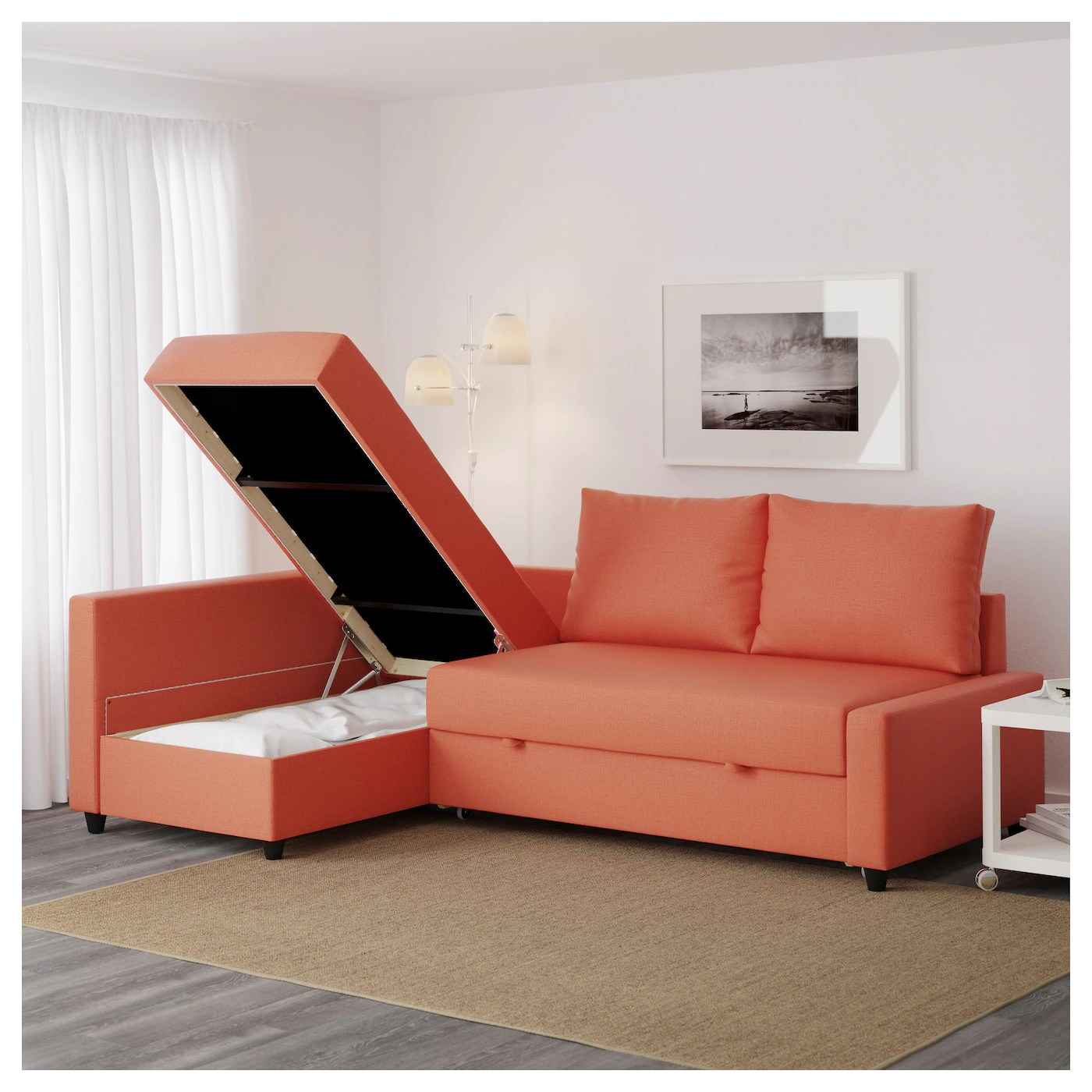 Bettsofa Ikea Friheten Friheten Corner Sofa Bed With Storage Skiftebo Dark Orange