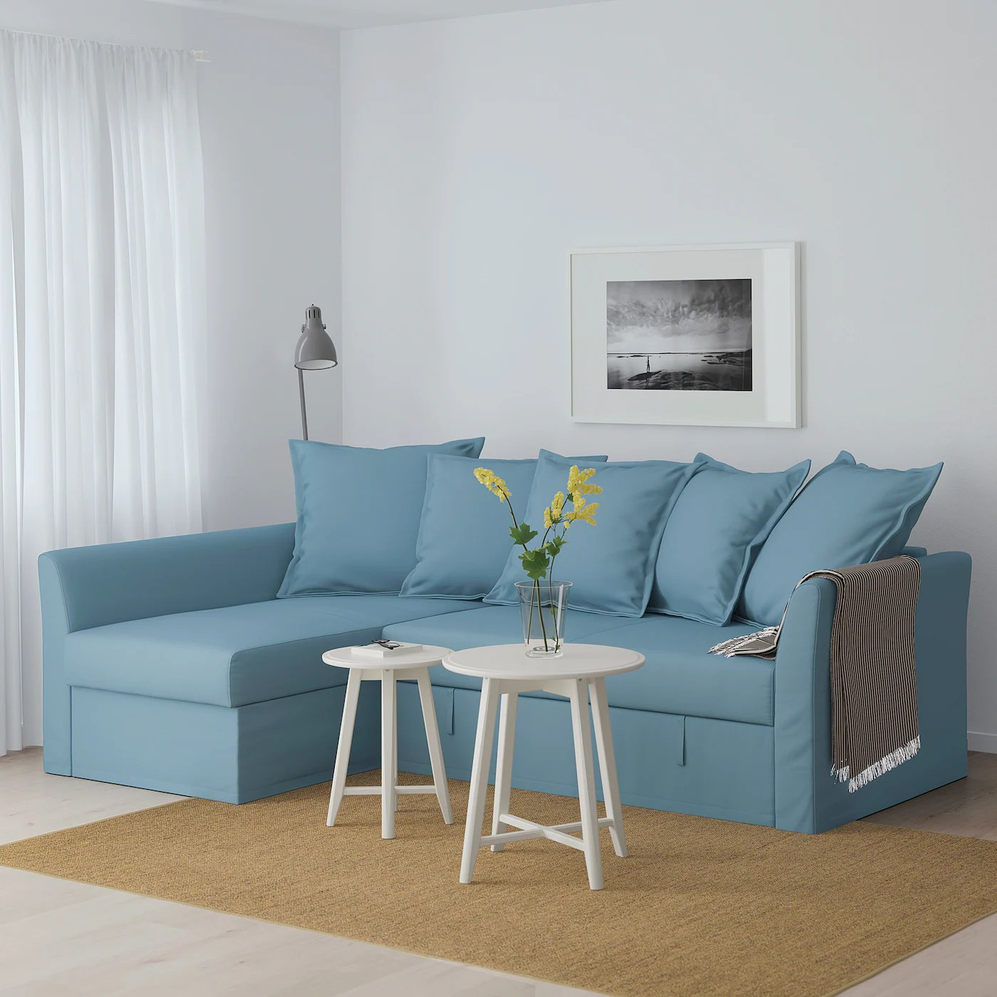 Sofas Und Couches Holmsund Gräsbo Light Blue, Corner Sofa-bed - Ikea