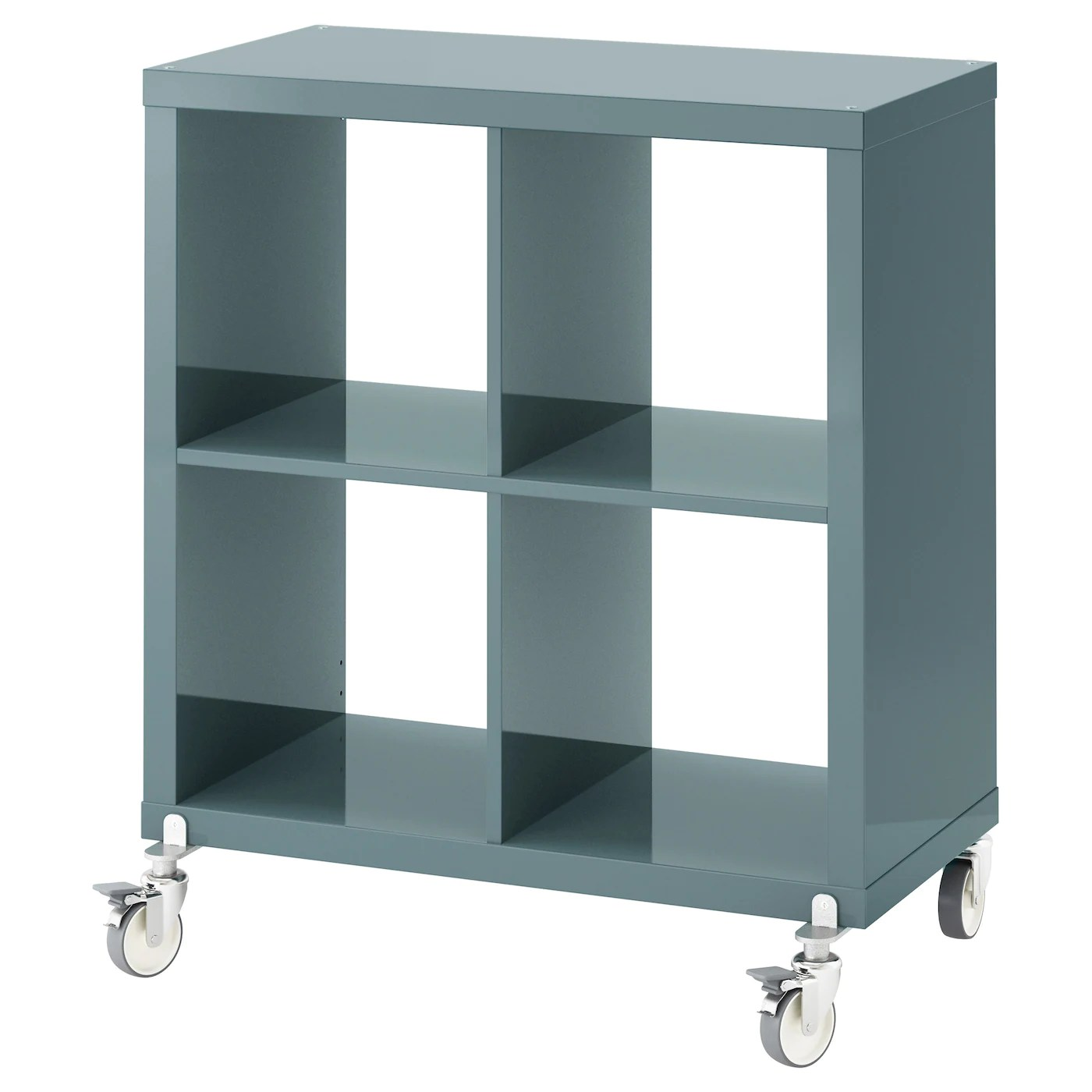Rollregal Küche Kallax Shelving Unit On Castors High Gloss Grey Turquoise