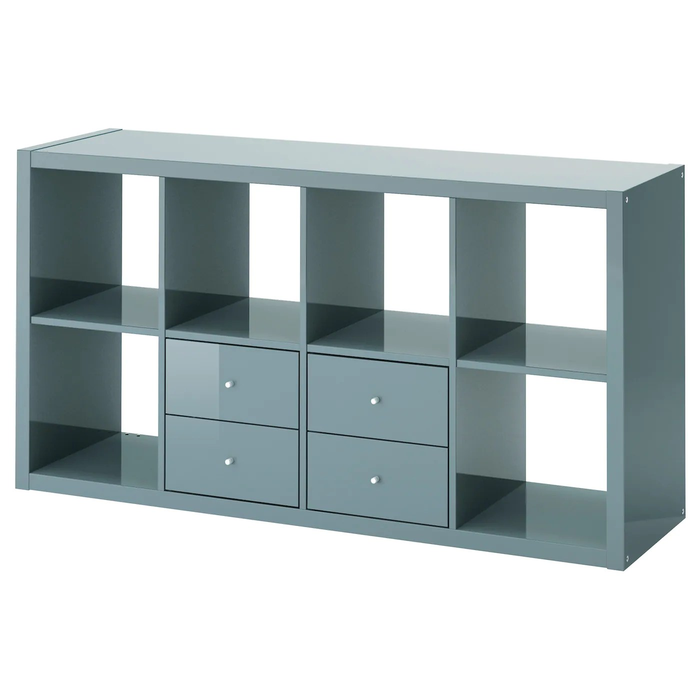 Ikea Kasten Hoch Kallax Shelving Unit With 2 Inserts High Gloss Grey
