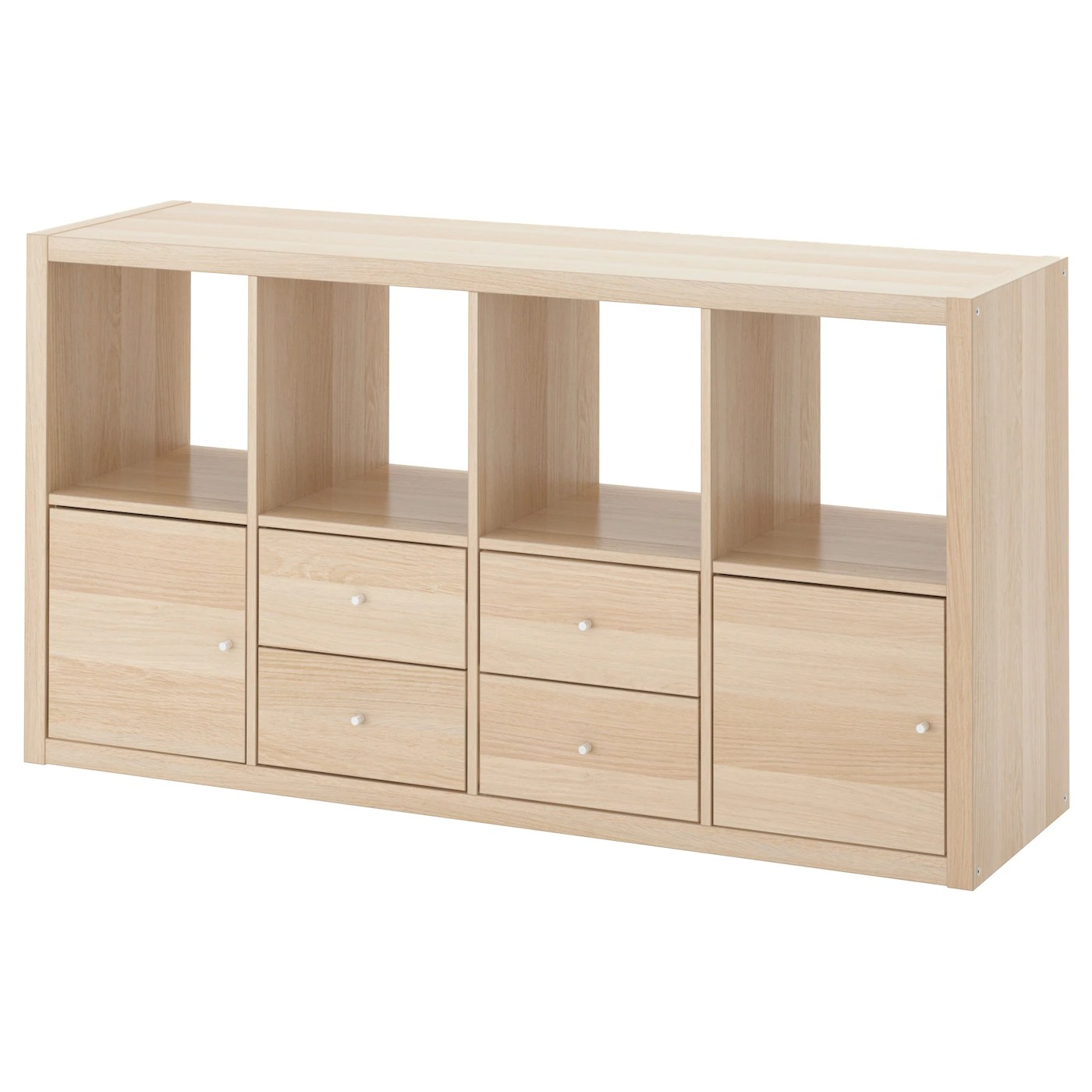 Ikea Kallax Cd Storage Kallax Shelving Unit With 4 Inserts White Stained Oak Effect 147 X 77 Cm Ikea