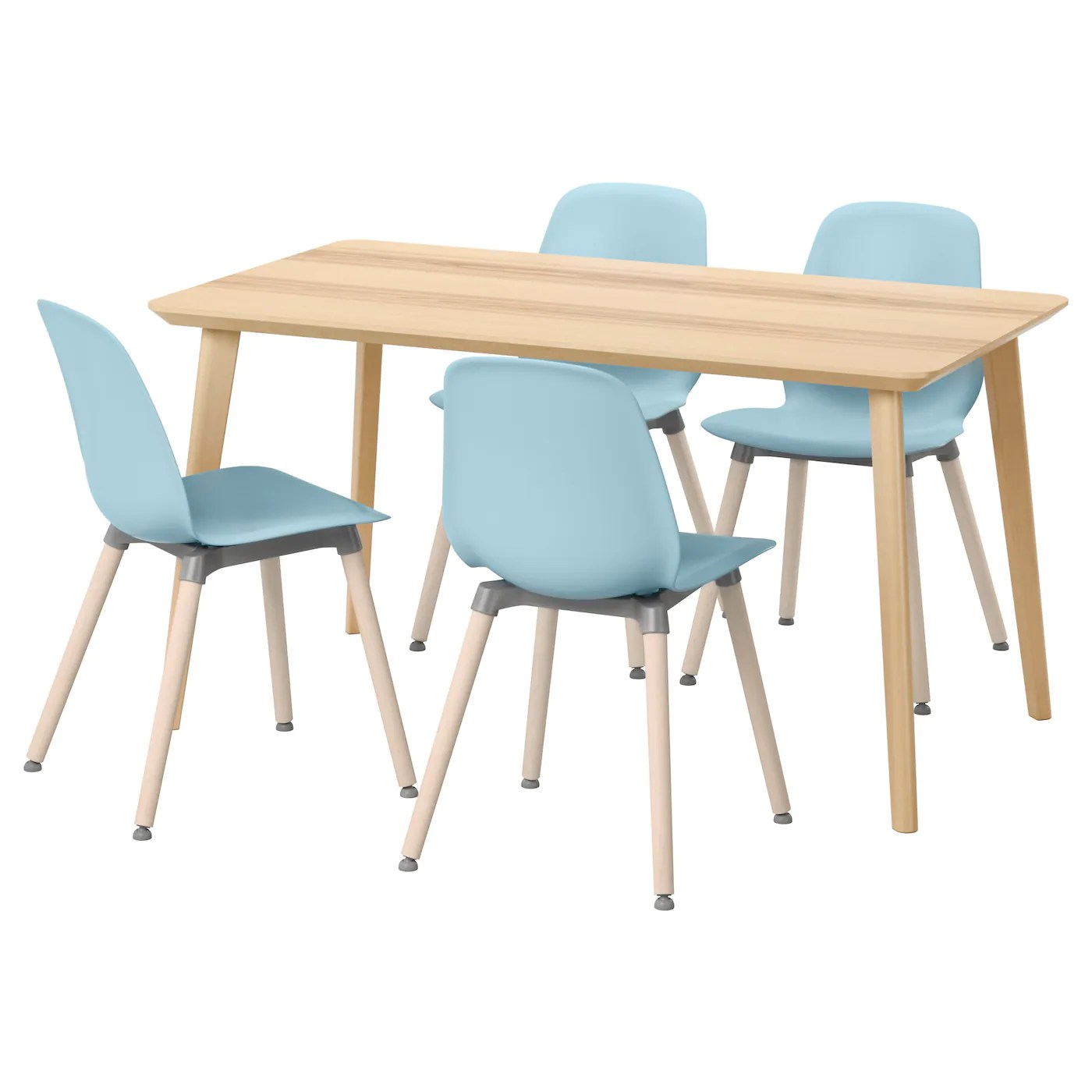 Table 140 Leifarne Lisabo Table And 4 Chairs Ash Veneer Light Blue 140 X 78 Cm Ikea