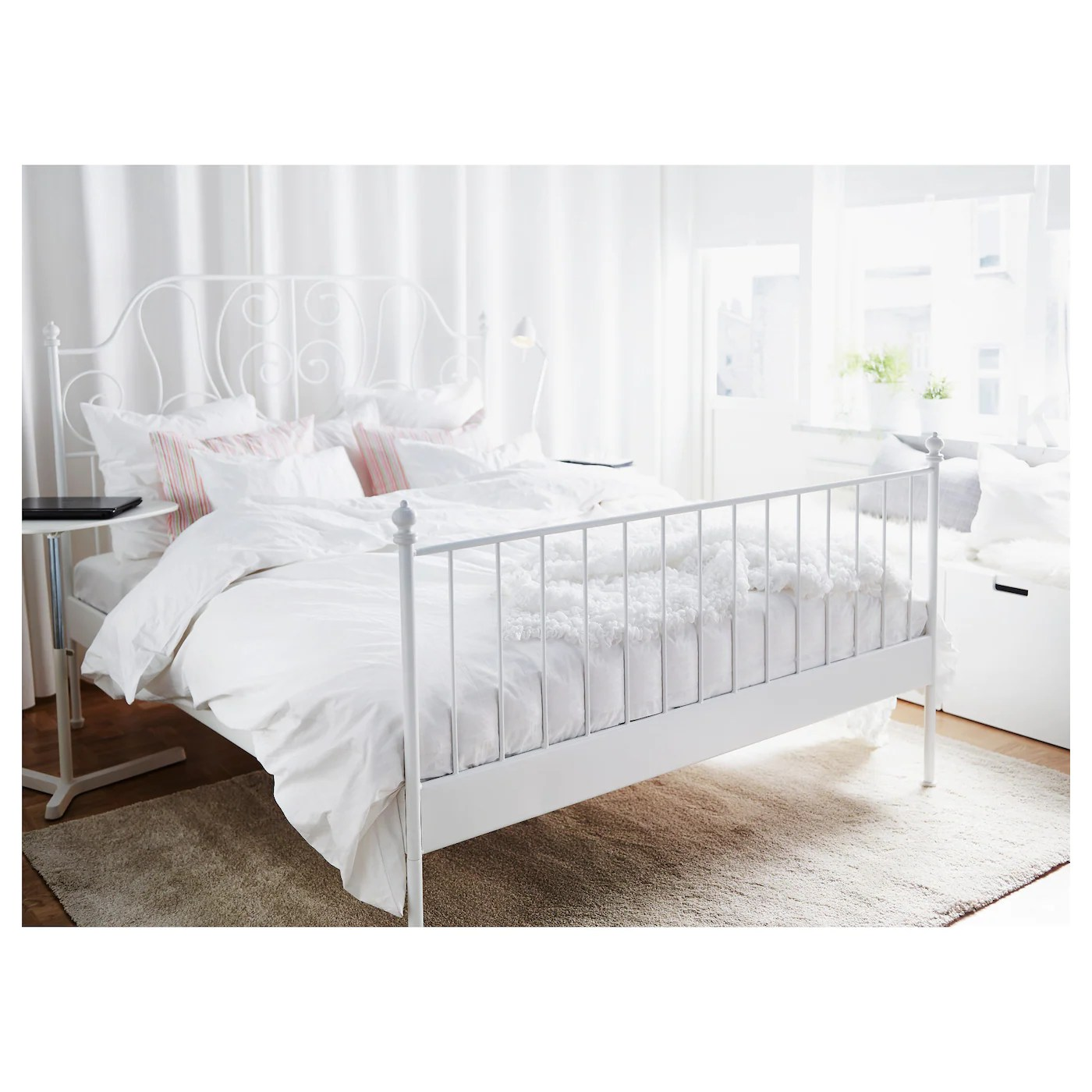 White Double Bed With Mattress Leirvik Bed Frame White Leirsund 140x200 Cm Ikea