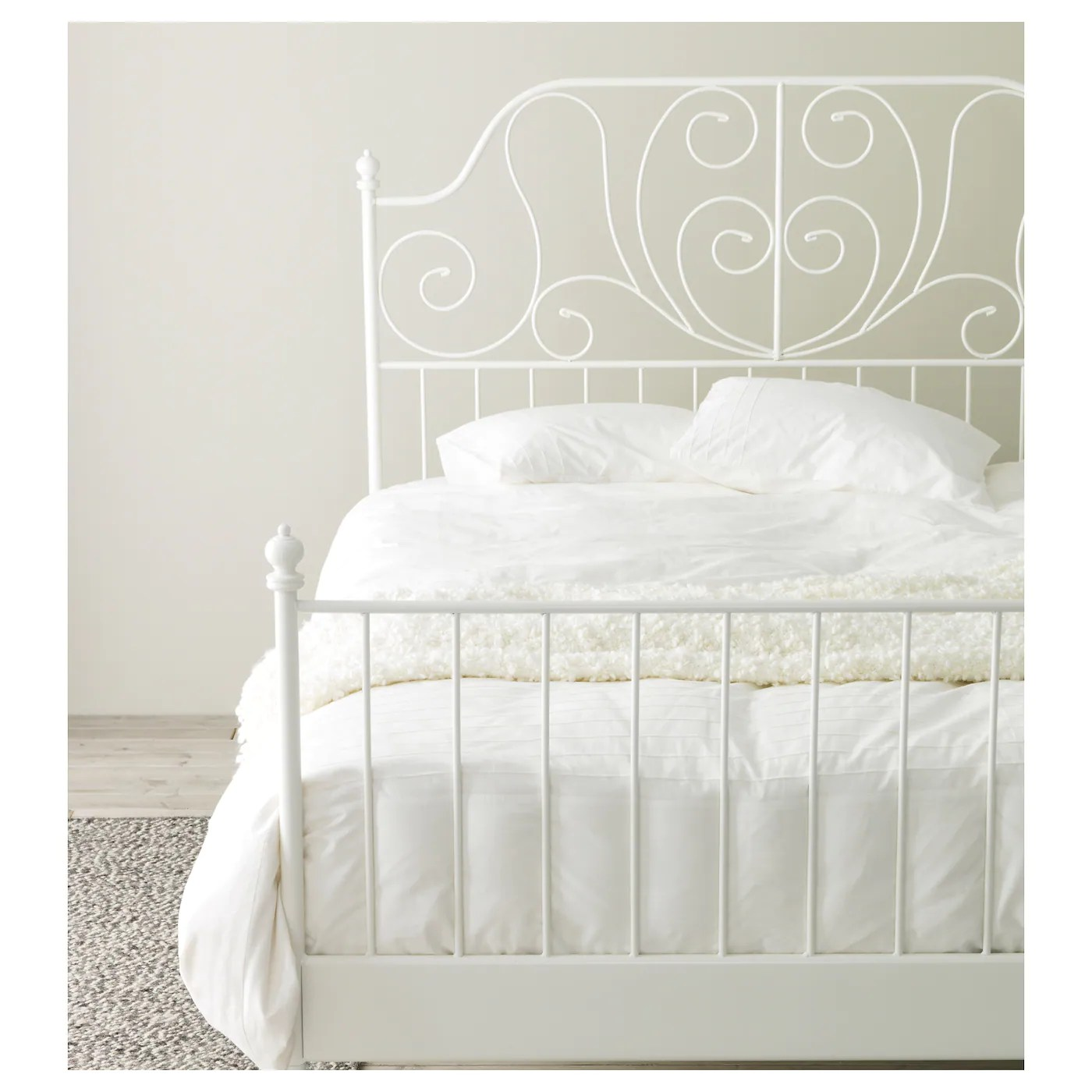 White Beds Leirvik Bed Frame White Luröy Standard Double Ikea