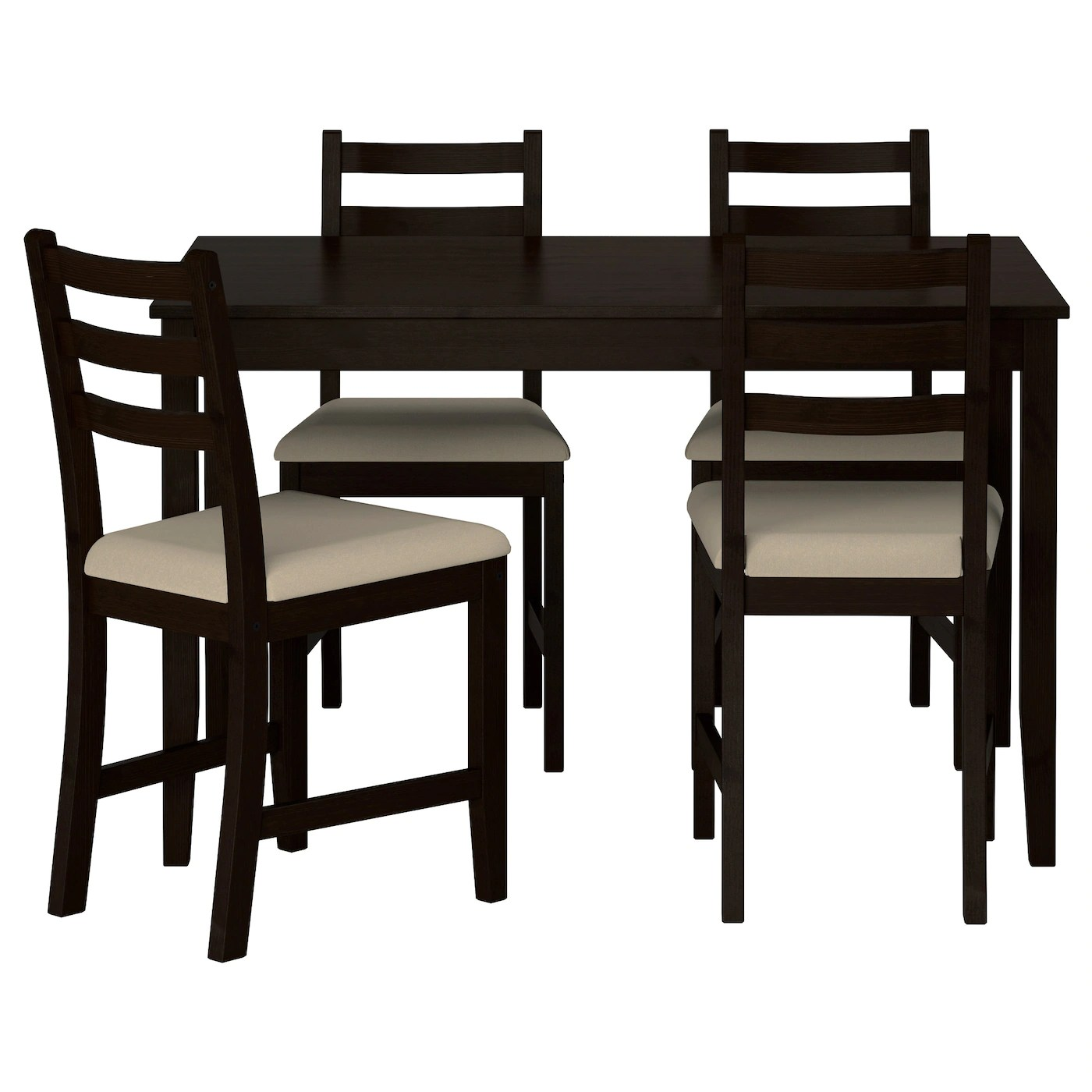 Set Table Ikea Lerhamn Table And 4 Chairs Black Brown Ramna Beige 118 X
