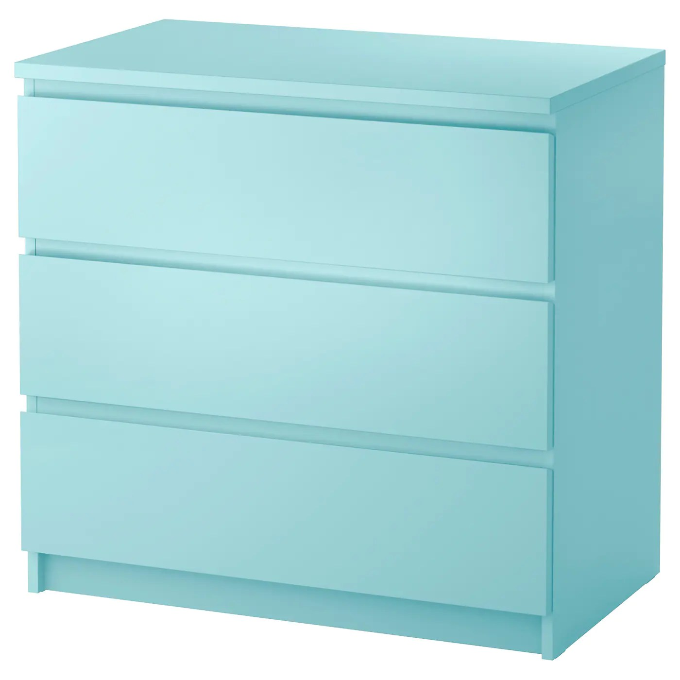 Schrank 1m Hoch Malm Chest Of 3 Drawers Light Turquoise 80x78 Cm Ikea