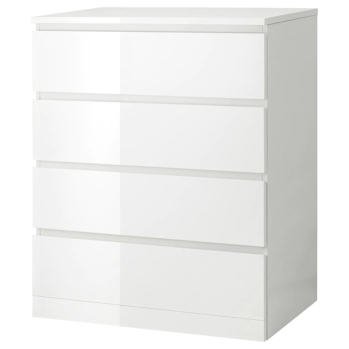 Malm White High Gloss White Chest Of 4 Drawers 80x100 Cm Ikea