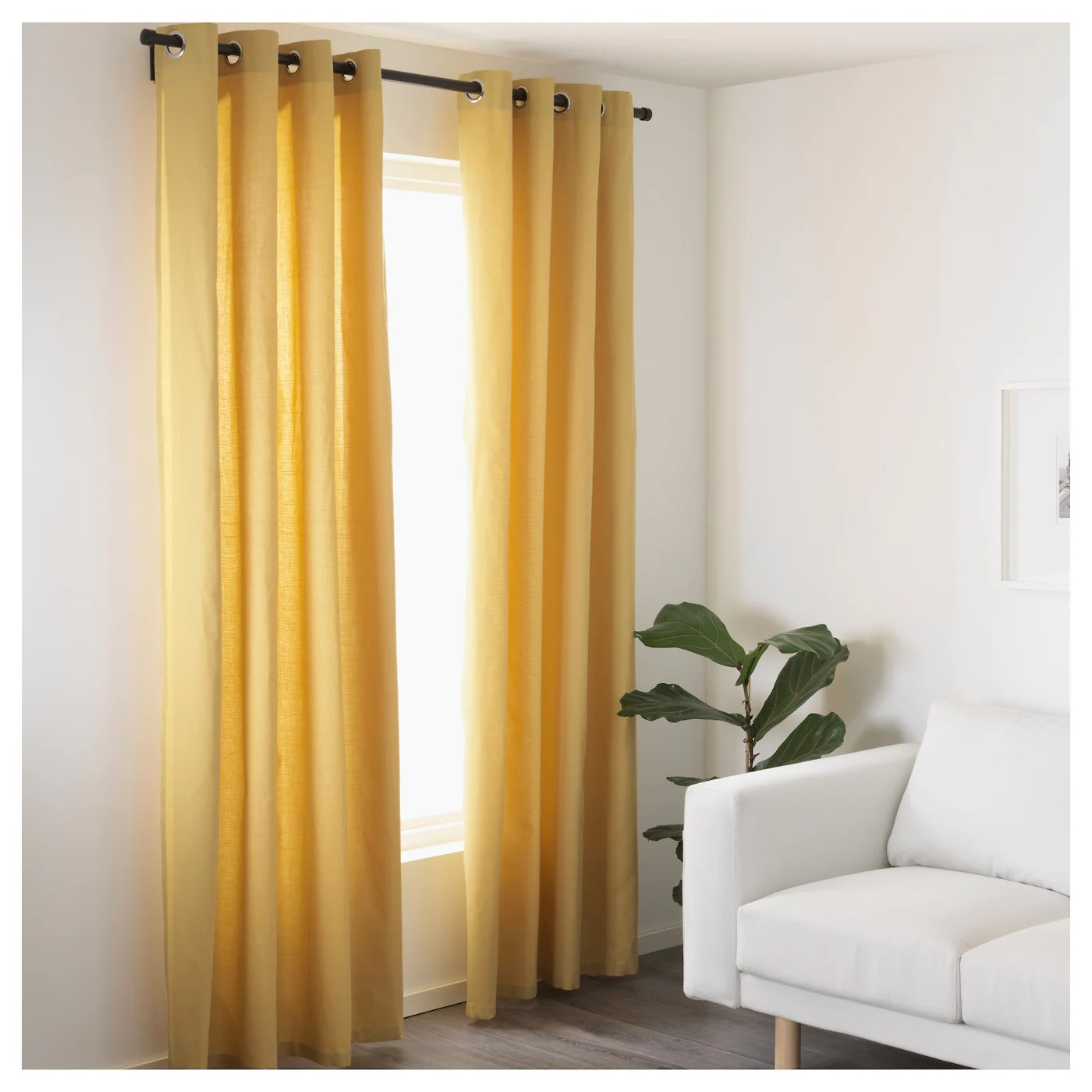 Curtain Ikea Mariam Curtains 1 Pair Yellow 145x250 Cm Ikea