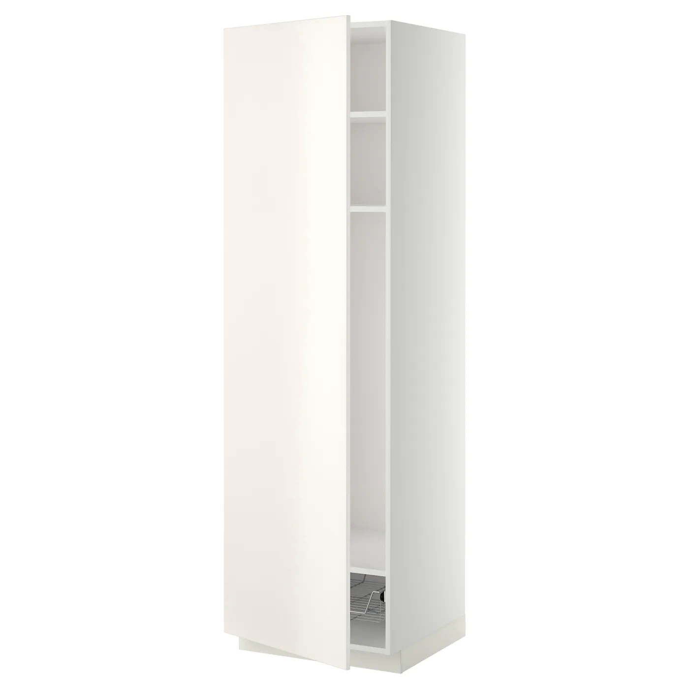 Ikea Küche 200 Cm Metod High Cabinet W Shelves Wire Basket White Veddinge
