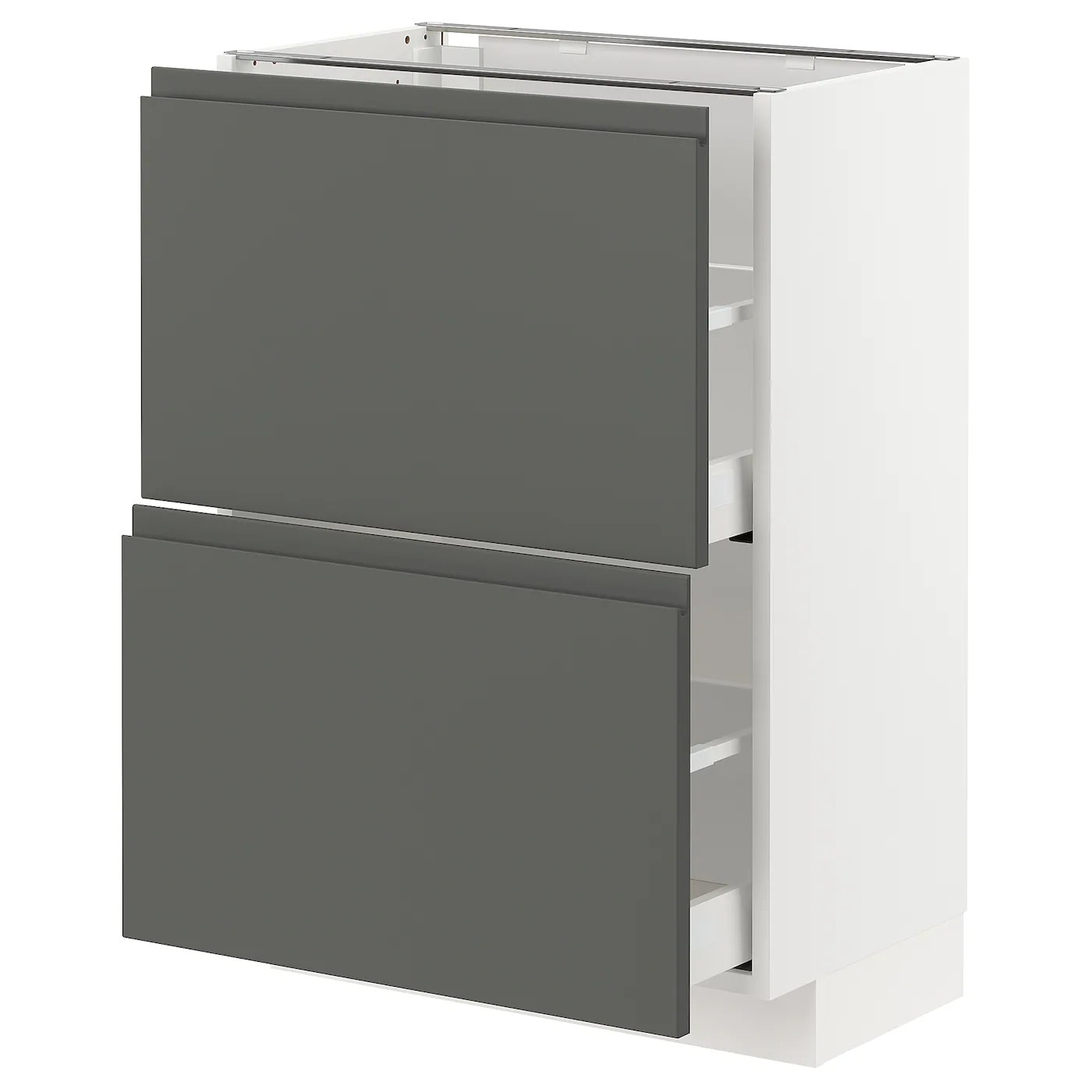 Unterschrank Küche Ikea Metod / Maximera Base Cabinet With 2 Drawers - White/voxtorp Dark Grey 60x37 Cm