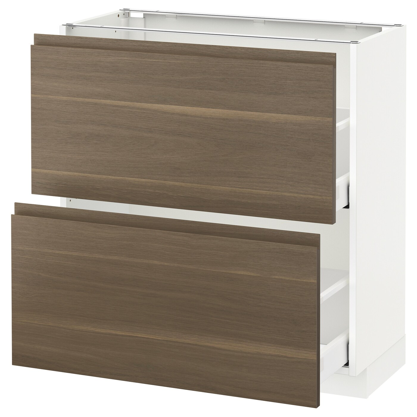 Unterschrank Küche Ikea Metod / Maximera Base Cabinet With 2 Drawers - White/voxtorp Walnut 80x37 Cm