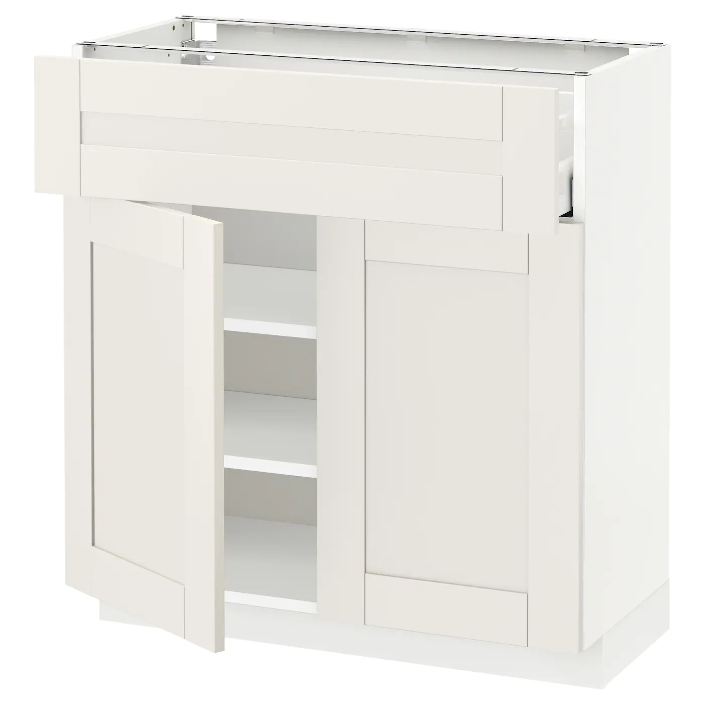 Ikea Sävedal Metod Maximera Base Cabinet With Drawer 2 Doors White Sävedal White