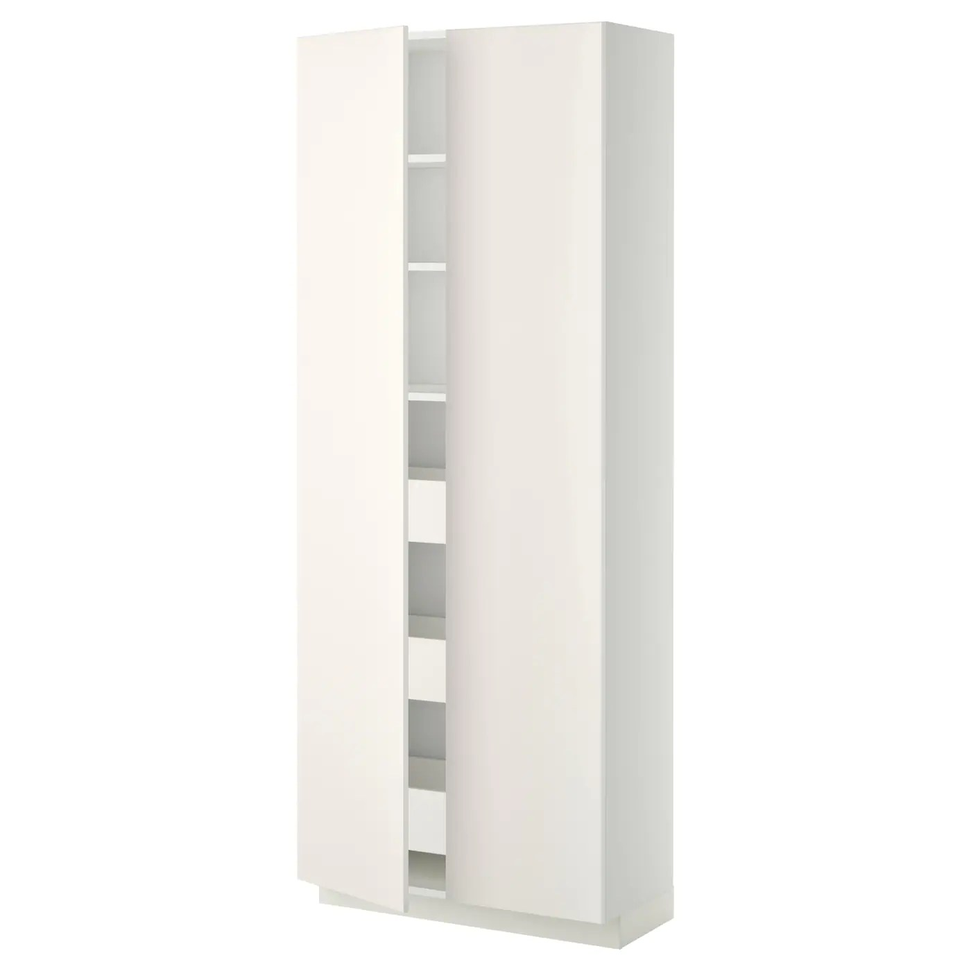 Besenschrank Ikea Metod Maximera Hi Cab With Drawers 2 Doors White Veddinge
