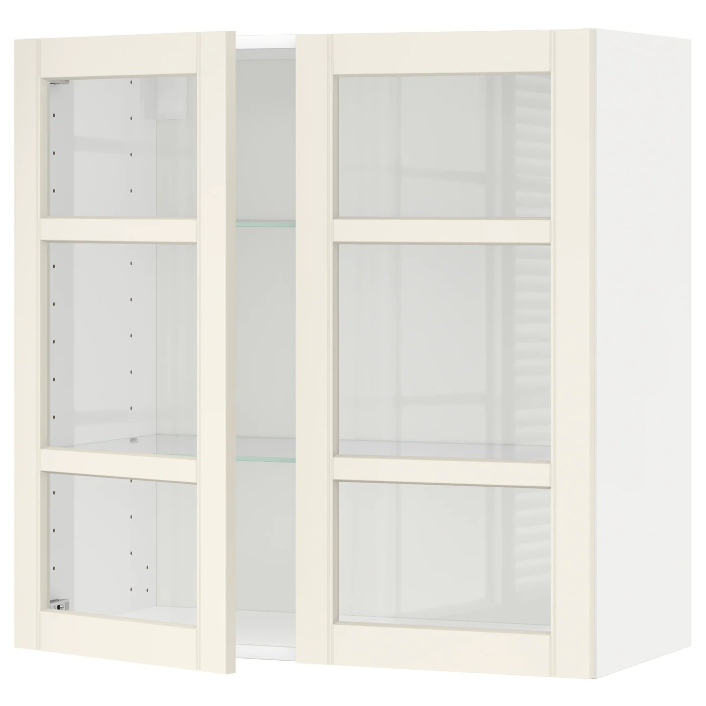 Metod Ikea Hängeschrank Metod Wall Cabinet W Shelves 2 Glass Drs White Hittarp Off White