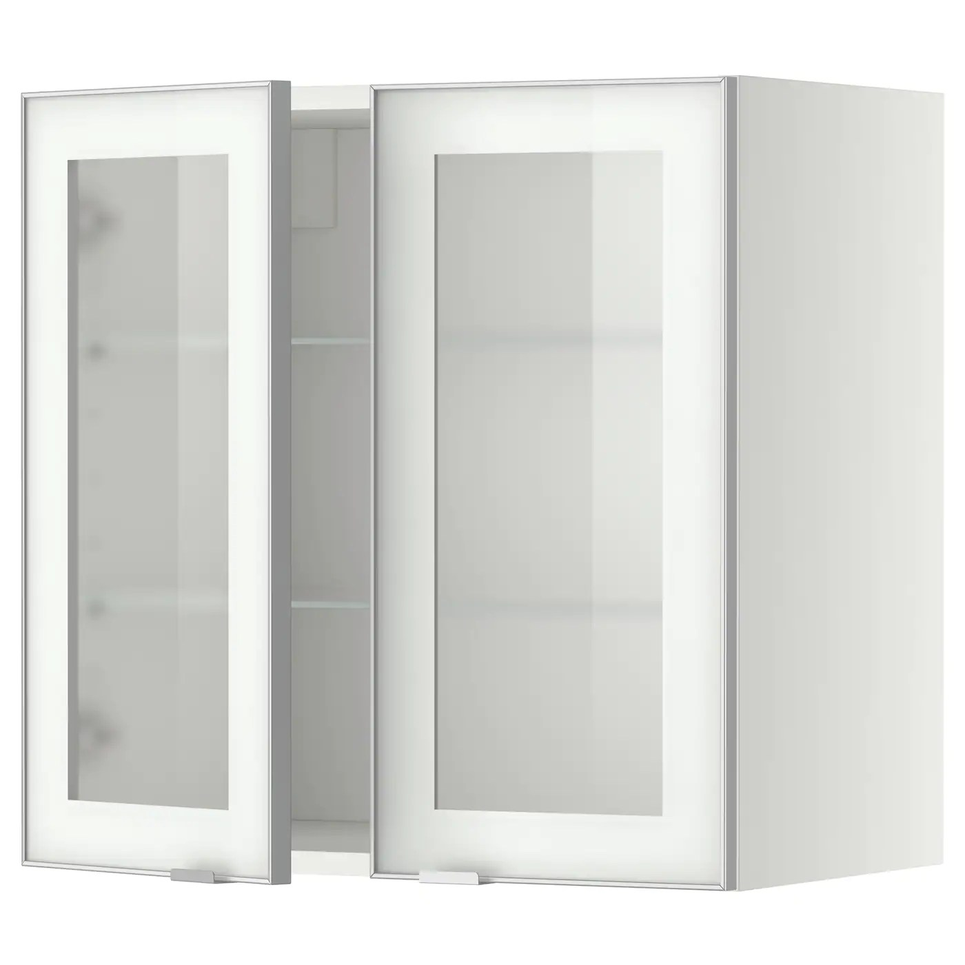 Schrank 60x60 Metod Wall Cabinet W Shelves 2 Glass Drs White Jutis