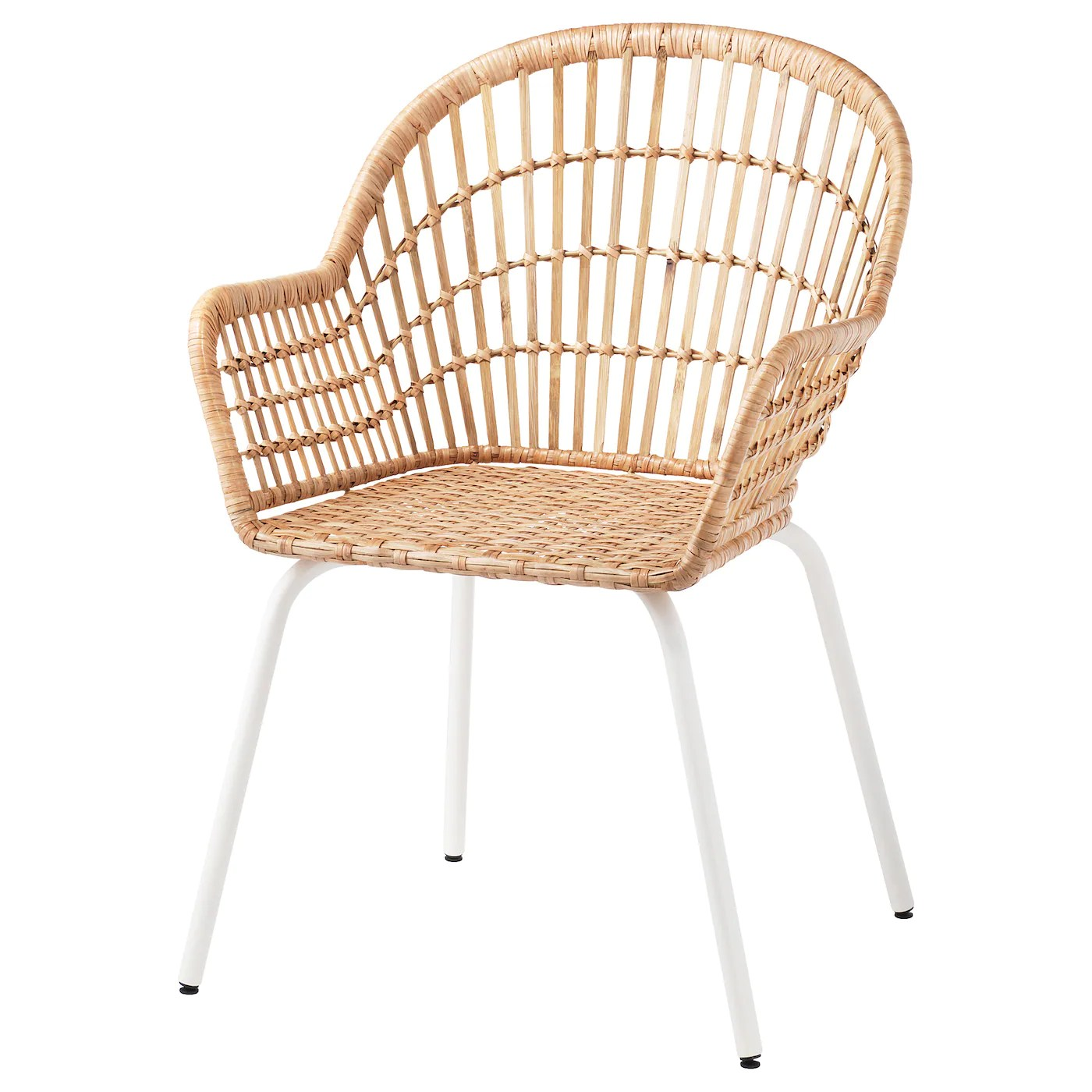 Nilsove Rattan White Chair With Armrests Ikea